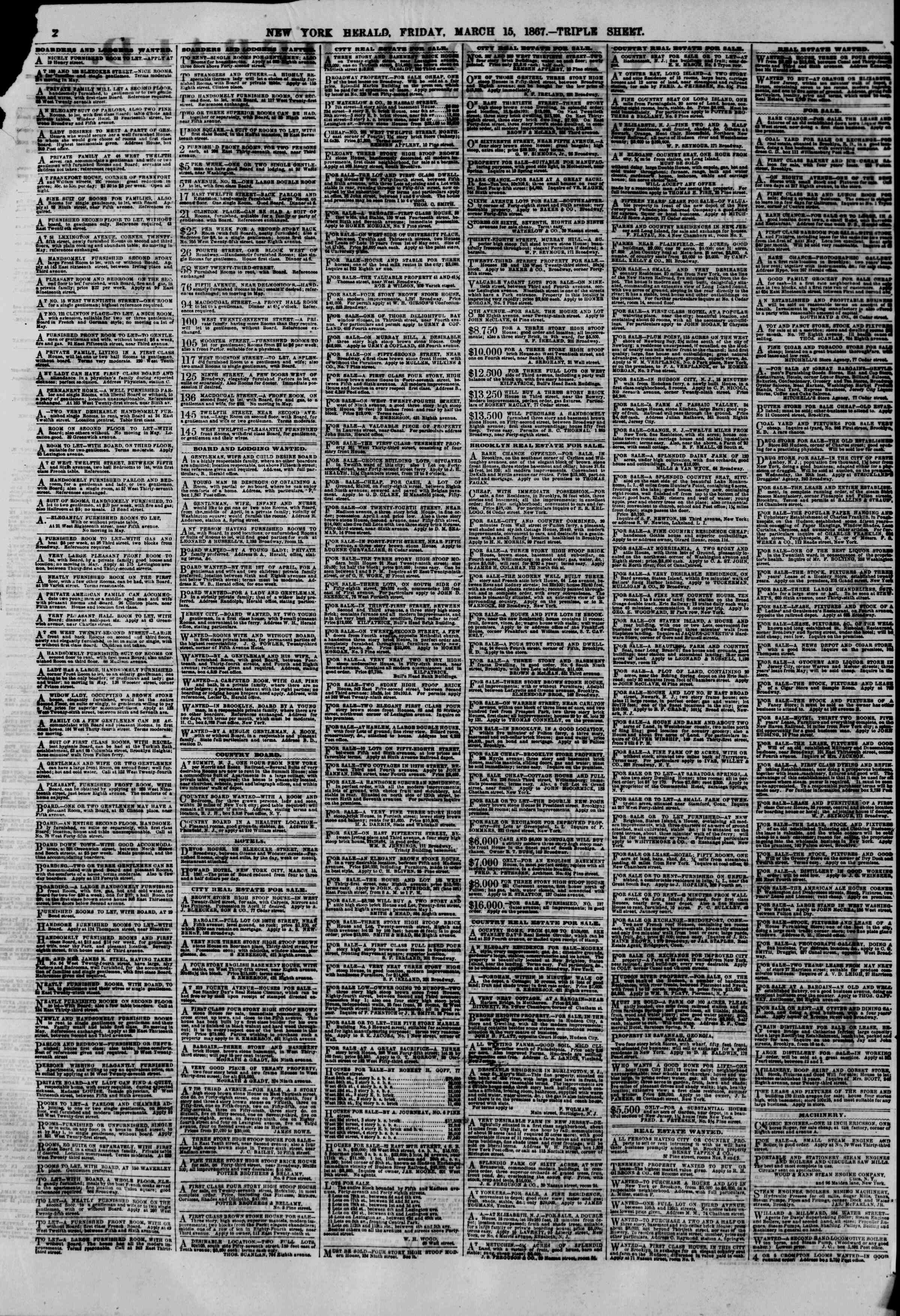 Newspaper of The New York Herald dated March 15, 1867 Page 2