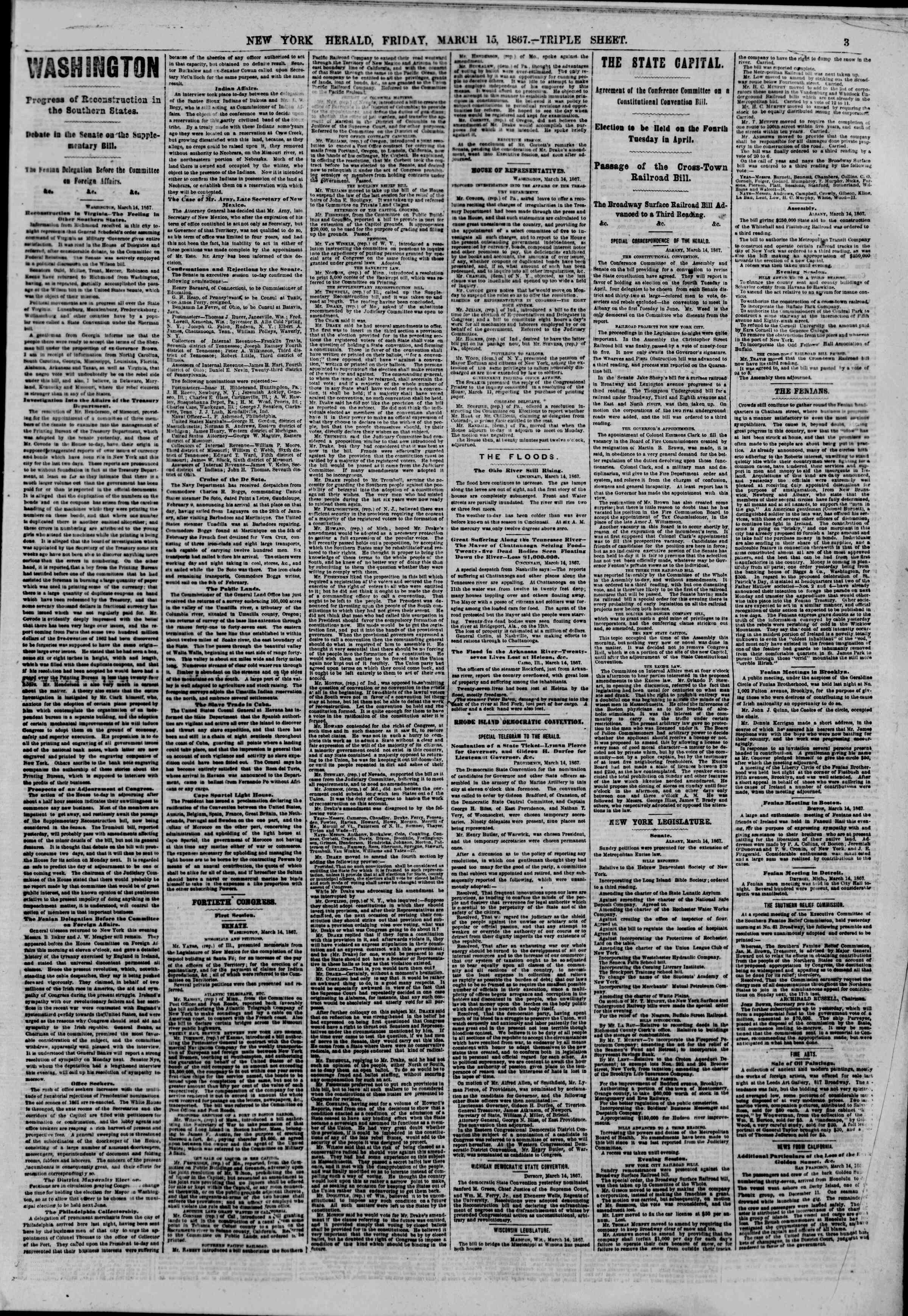Newspaper of The New York Herald dated March 15, 1867 Page 3