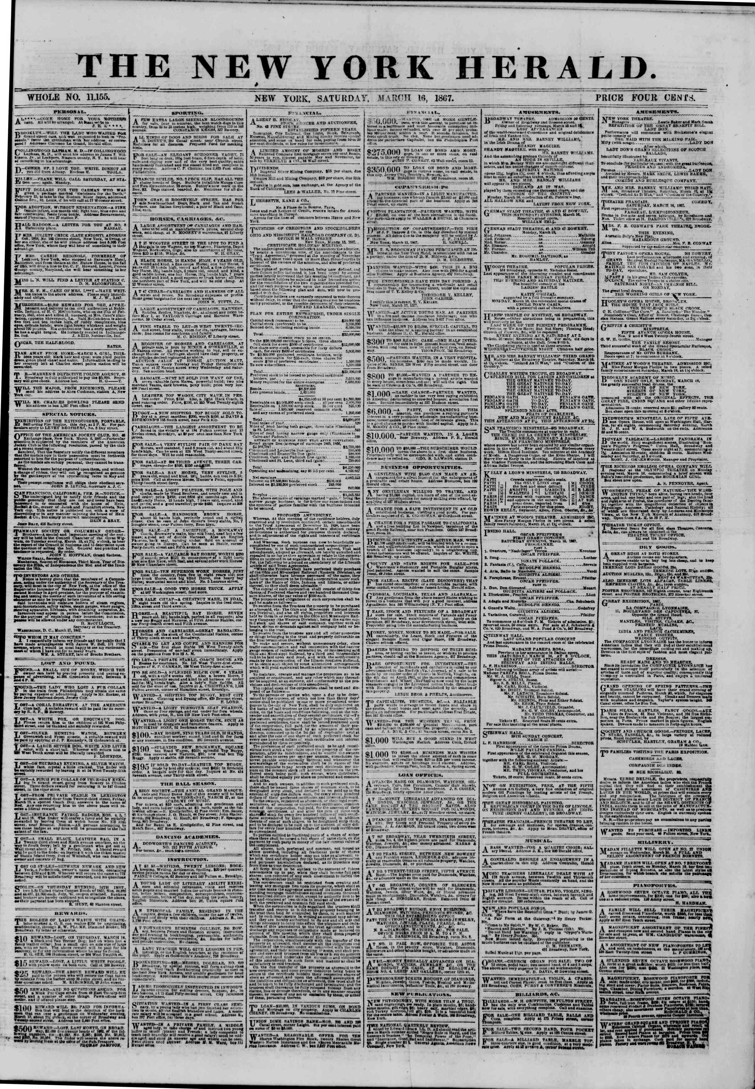 Newspaper of The New York Herald dated March 16, 1867 Page 1