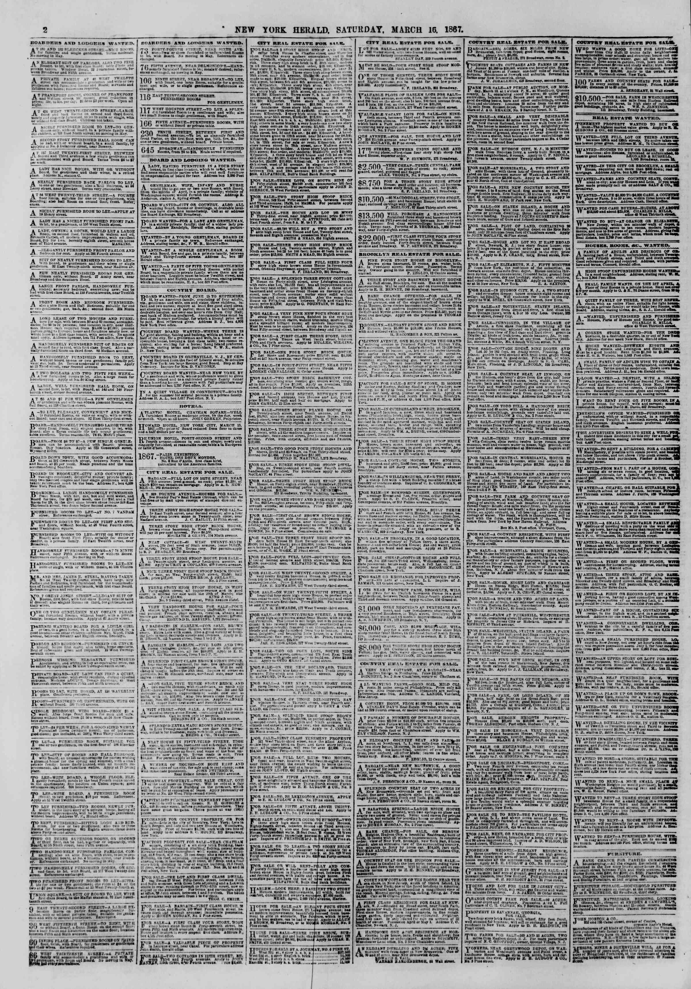 Newspaper of The New York Herald dated March 16, 1867 Page 2