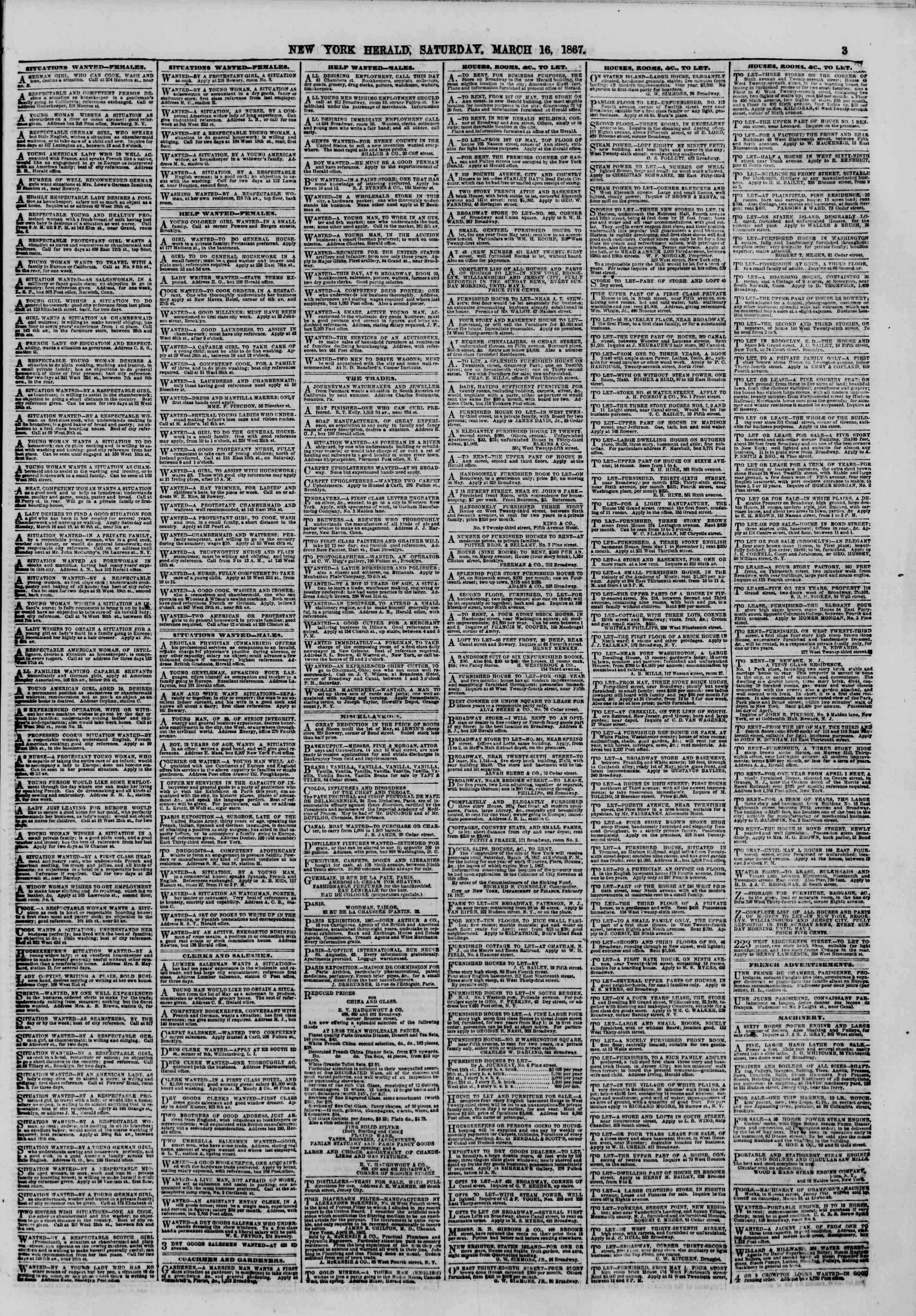 Newspaper of The New York Herald dated March 16, 1867 Page 3