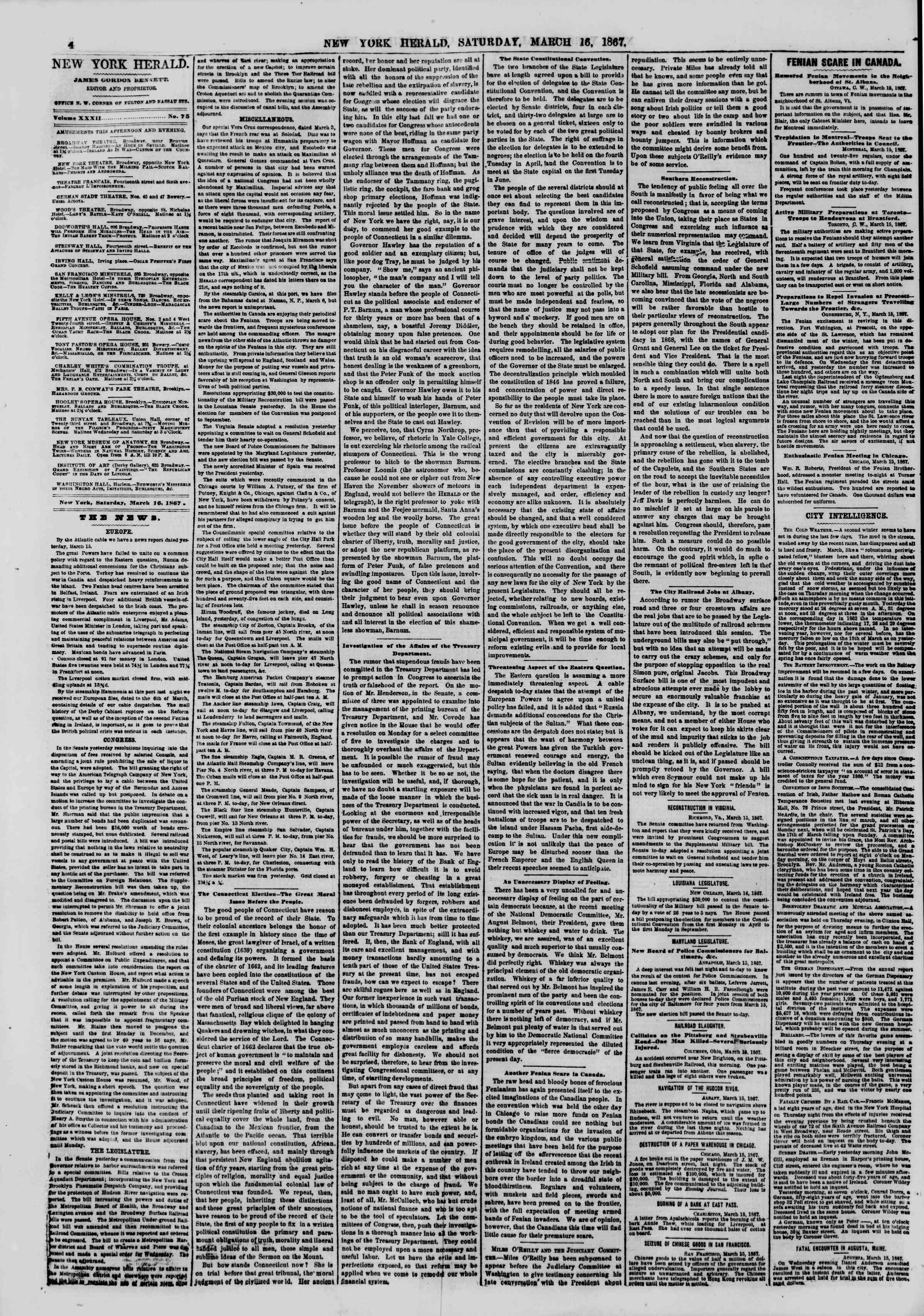 Newspaper of The New York Herald dated March 16, 1867 Page 4