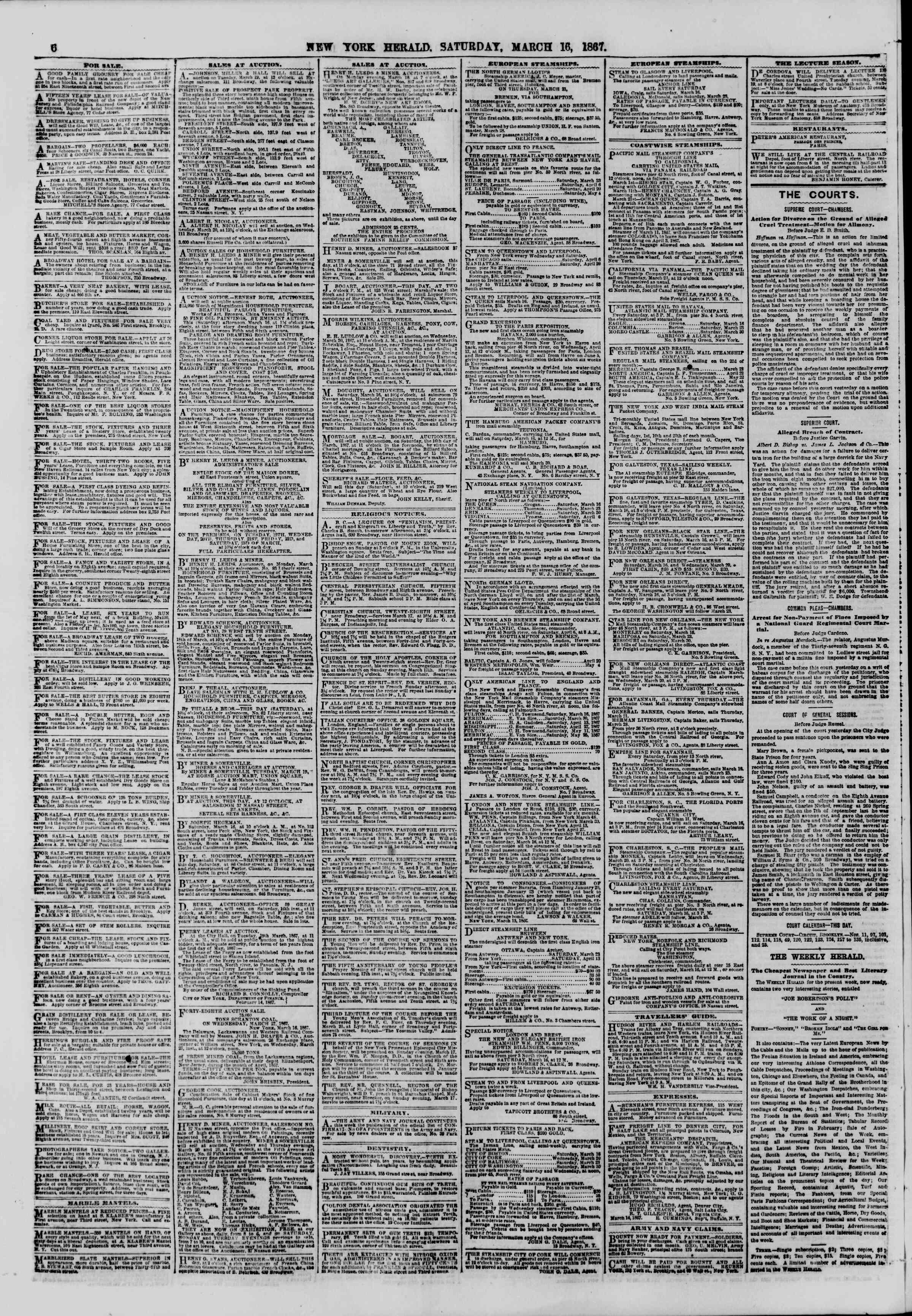 Newspaper of The New York Herald dated 16 Mart 1867 Page 6