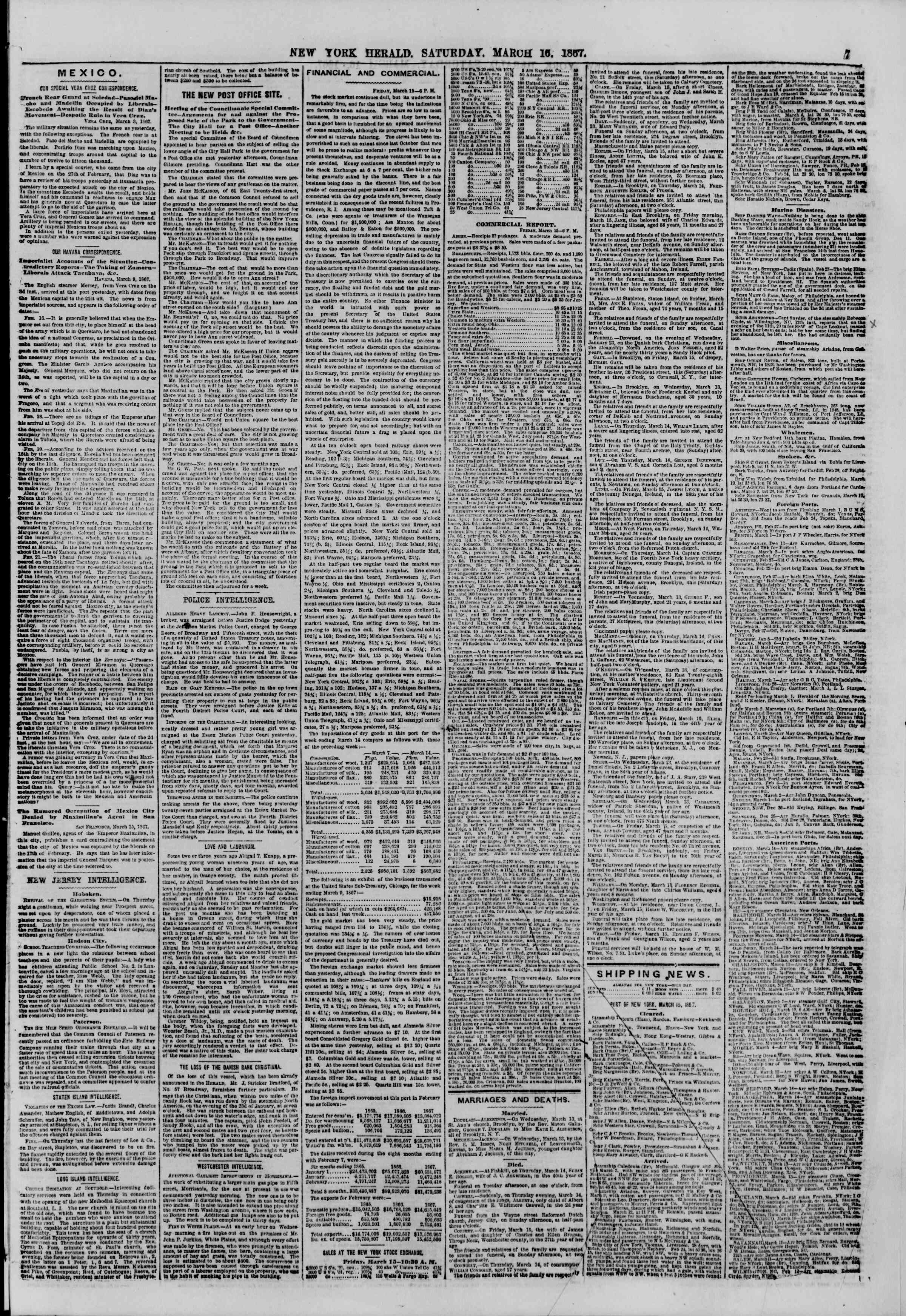 Newspaper of The New York Herald dated March 16, 1867 Page 7
