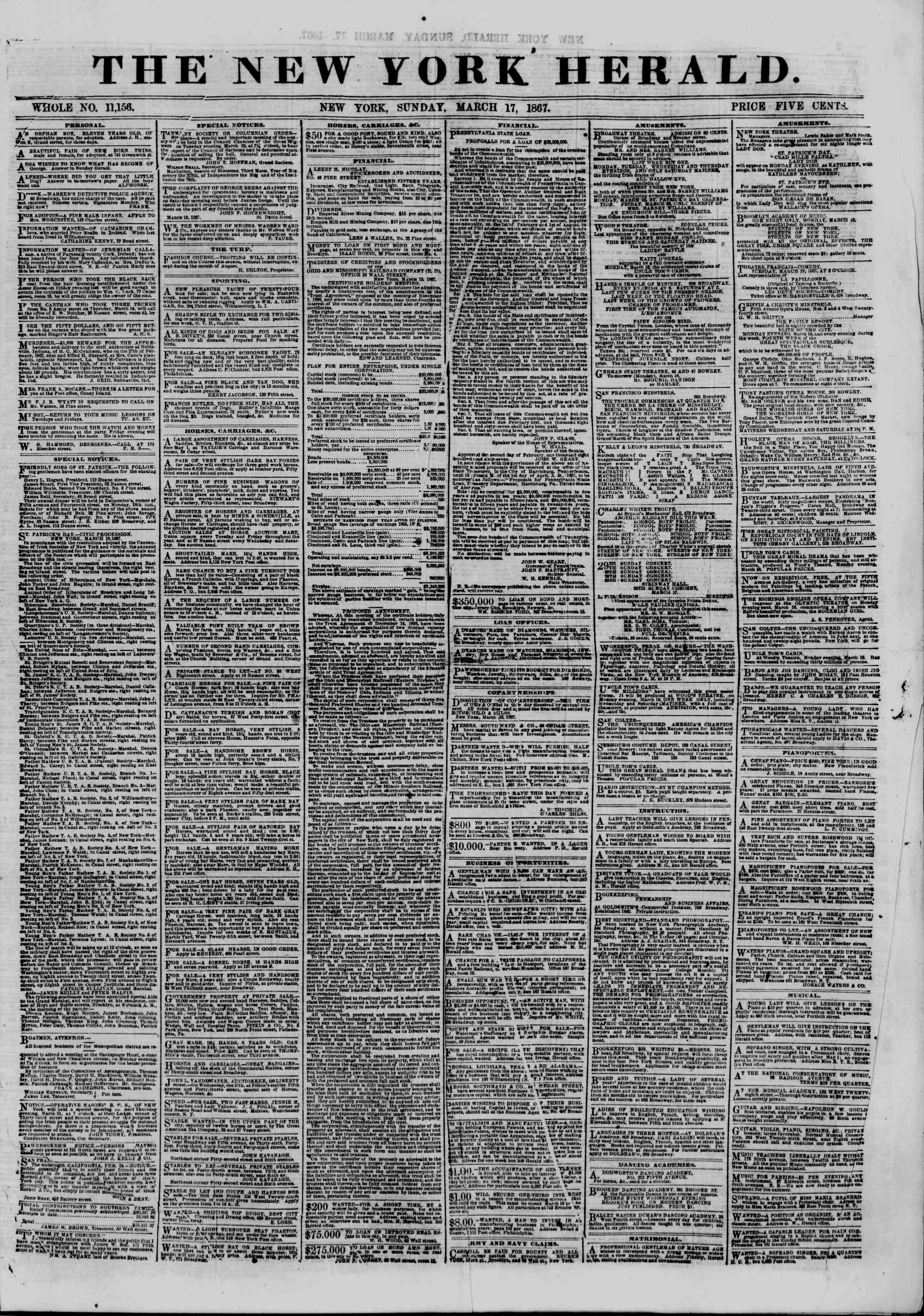 Newspaper of The New York Herald dated March 17, 1867 Page 1