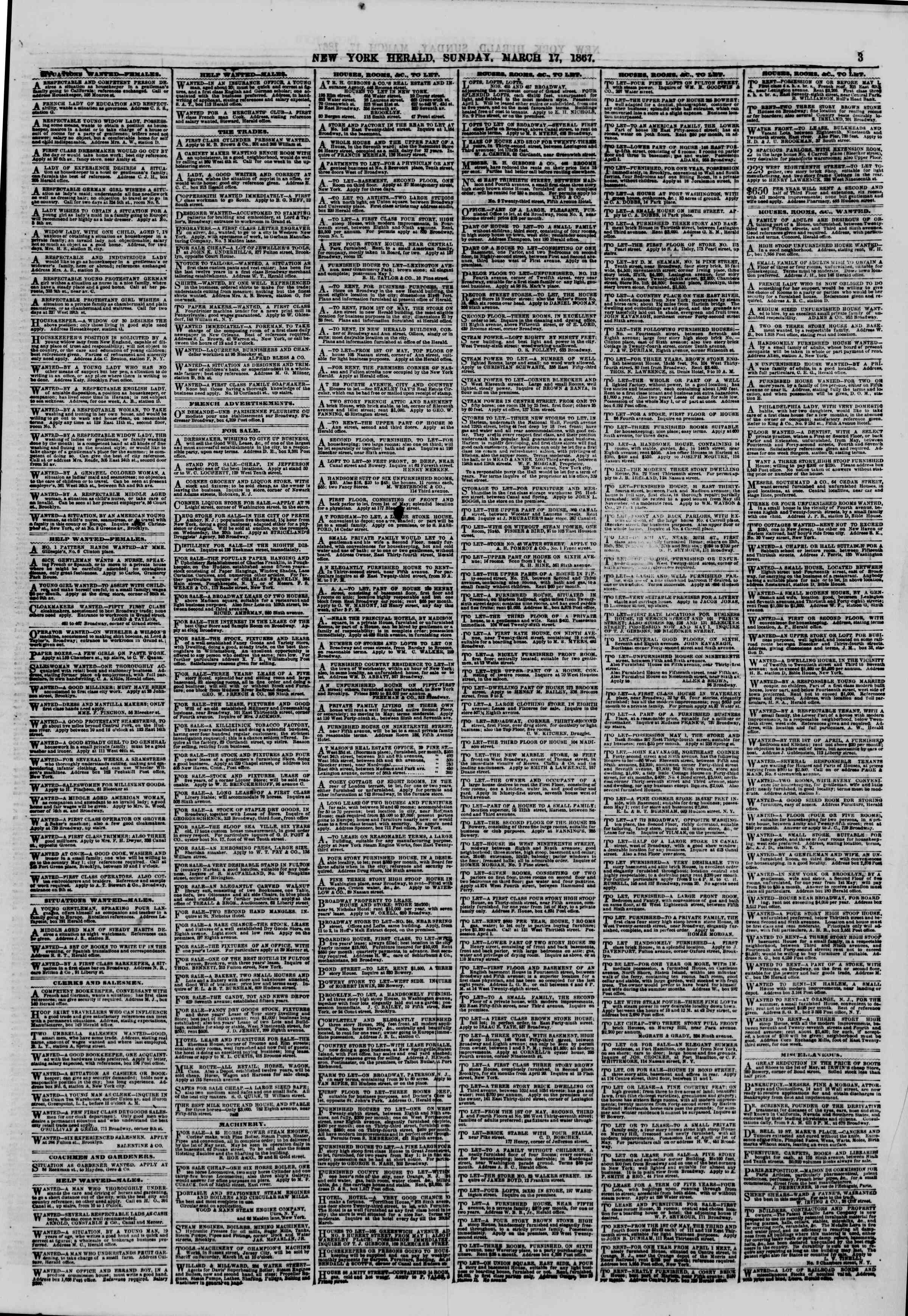 Newspaper of The New York Herald dated March 17, 1867 Page 3