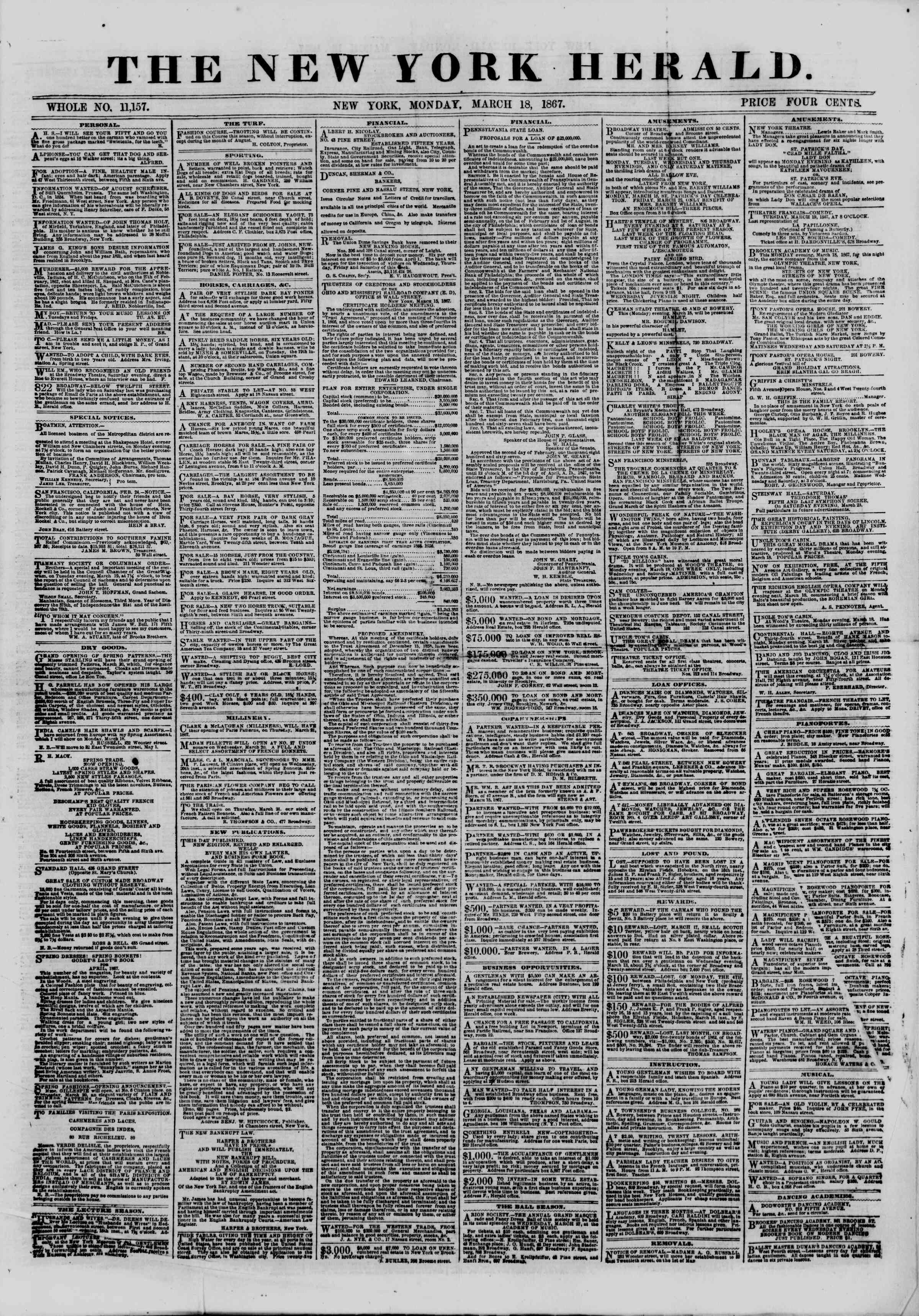 Newspaper of The New York Herald dated March 18, 1867 Page 1