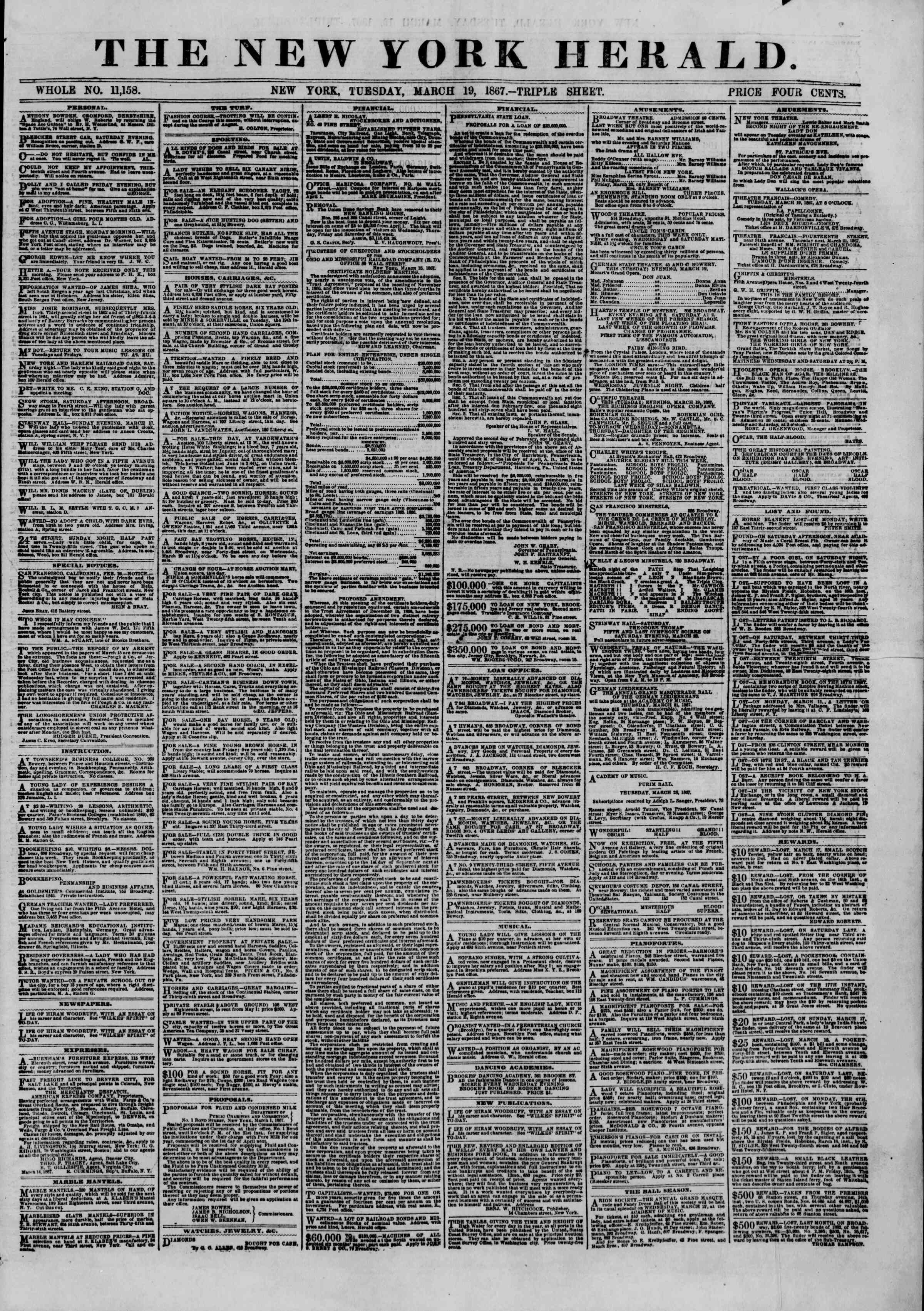 Newspaper of The New York Herald dated March 19, 1867 Page 1