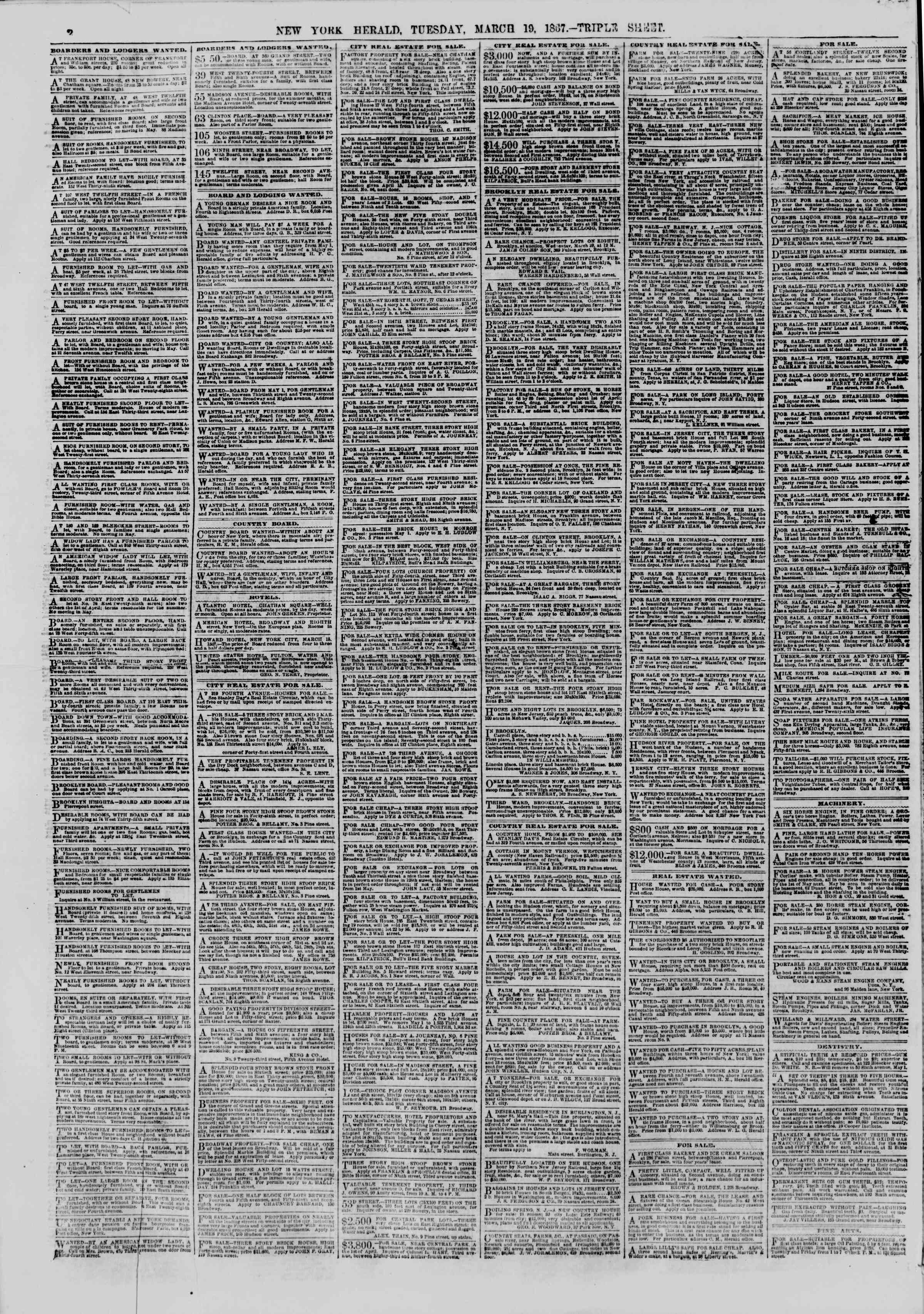 Newspaper of The New York Herald dated March 19, 1867 Page 2