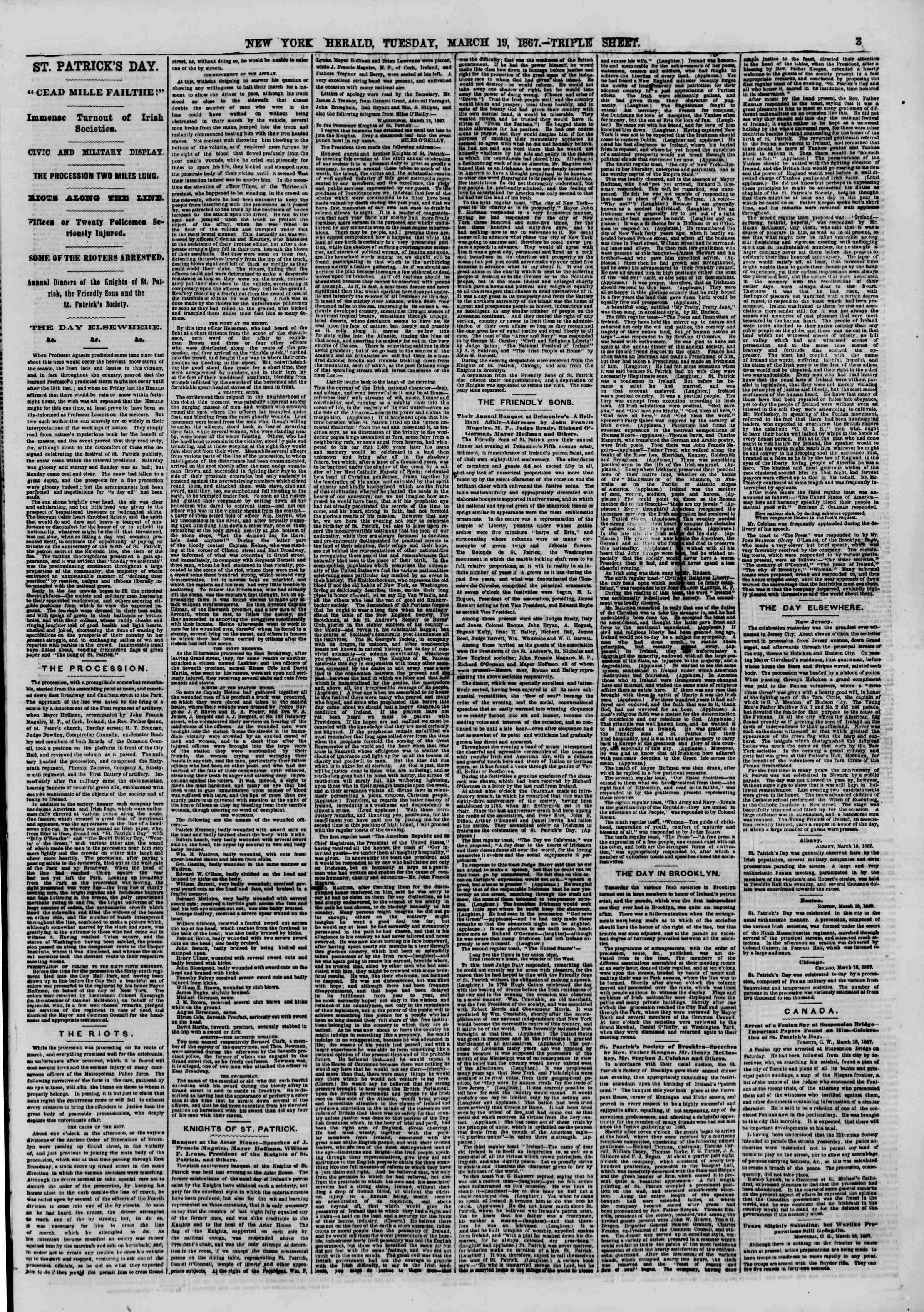 Newspaper of The New York Herald dated March 19, 1867 Page 3