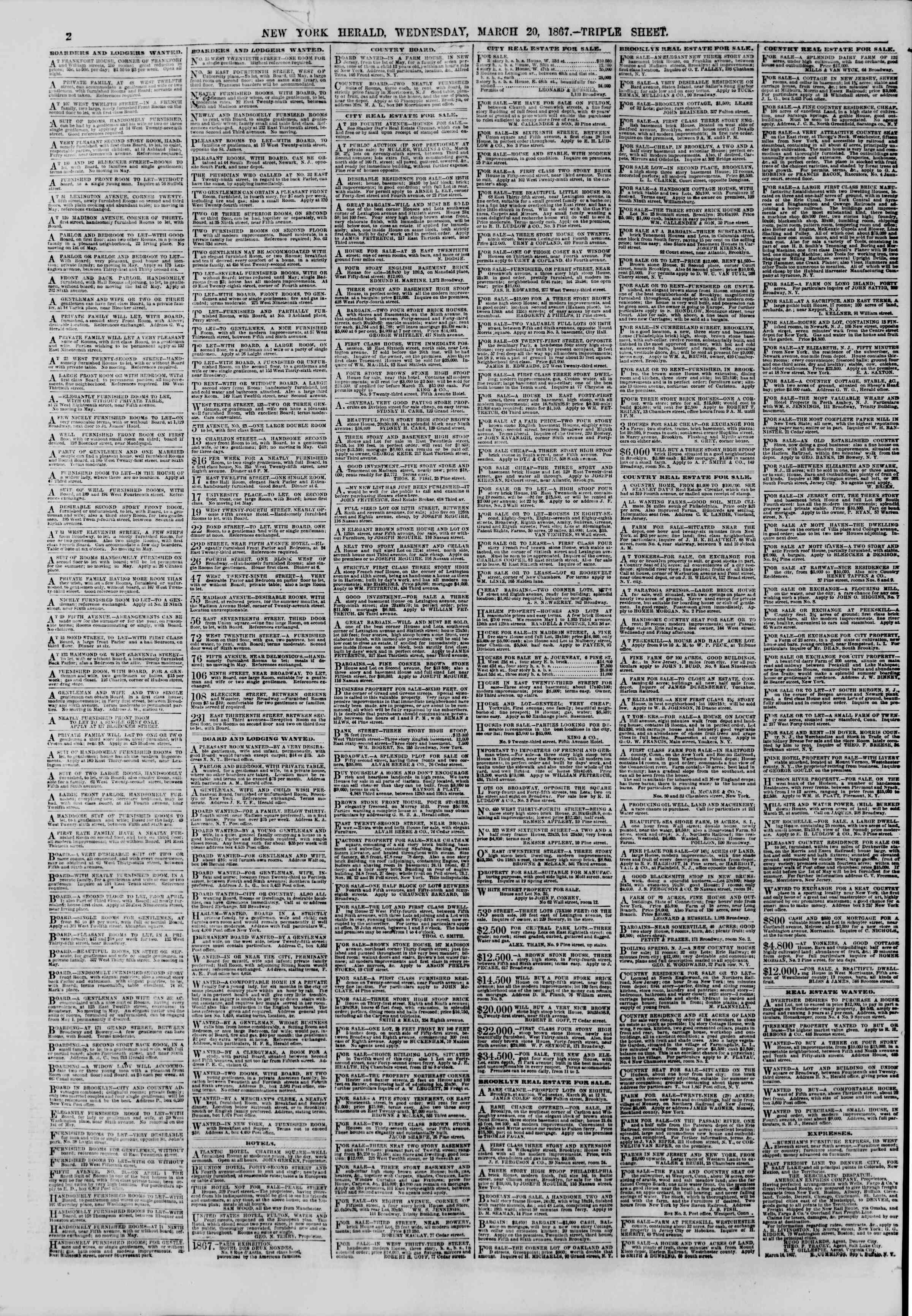 Newspaper of The New York Herald dated 20 Mart 1867 Page 2