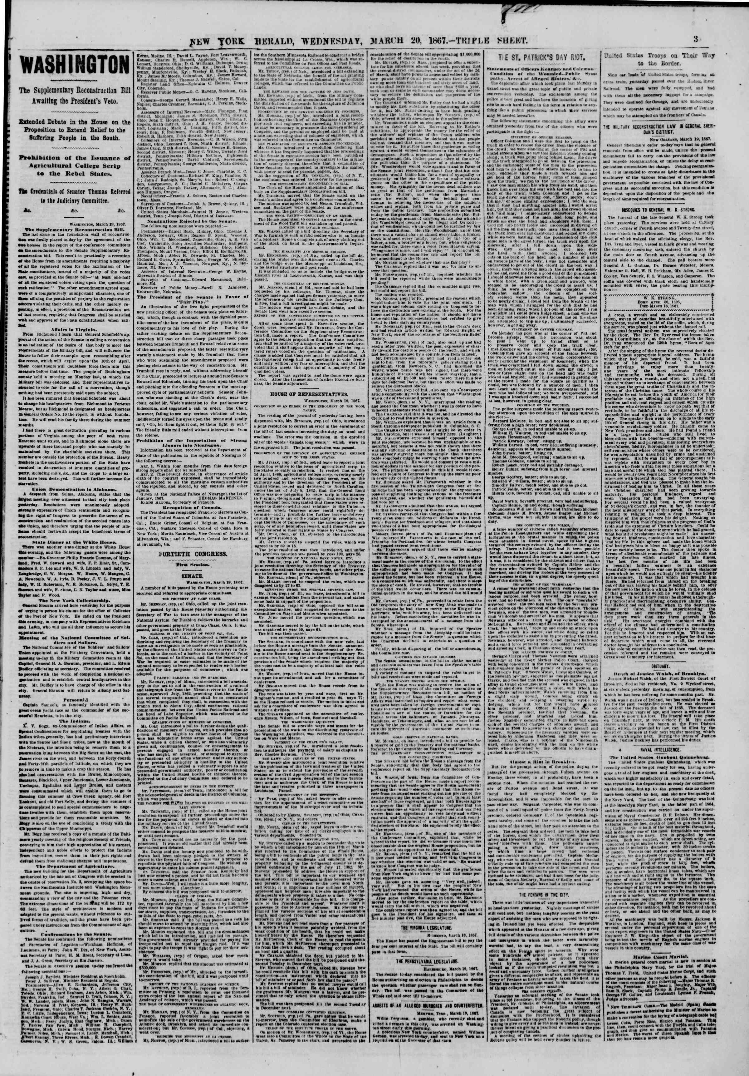 Newspaper of The New York Herald dated March 20, 1867 Page 3