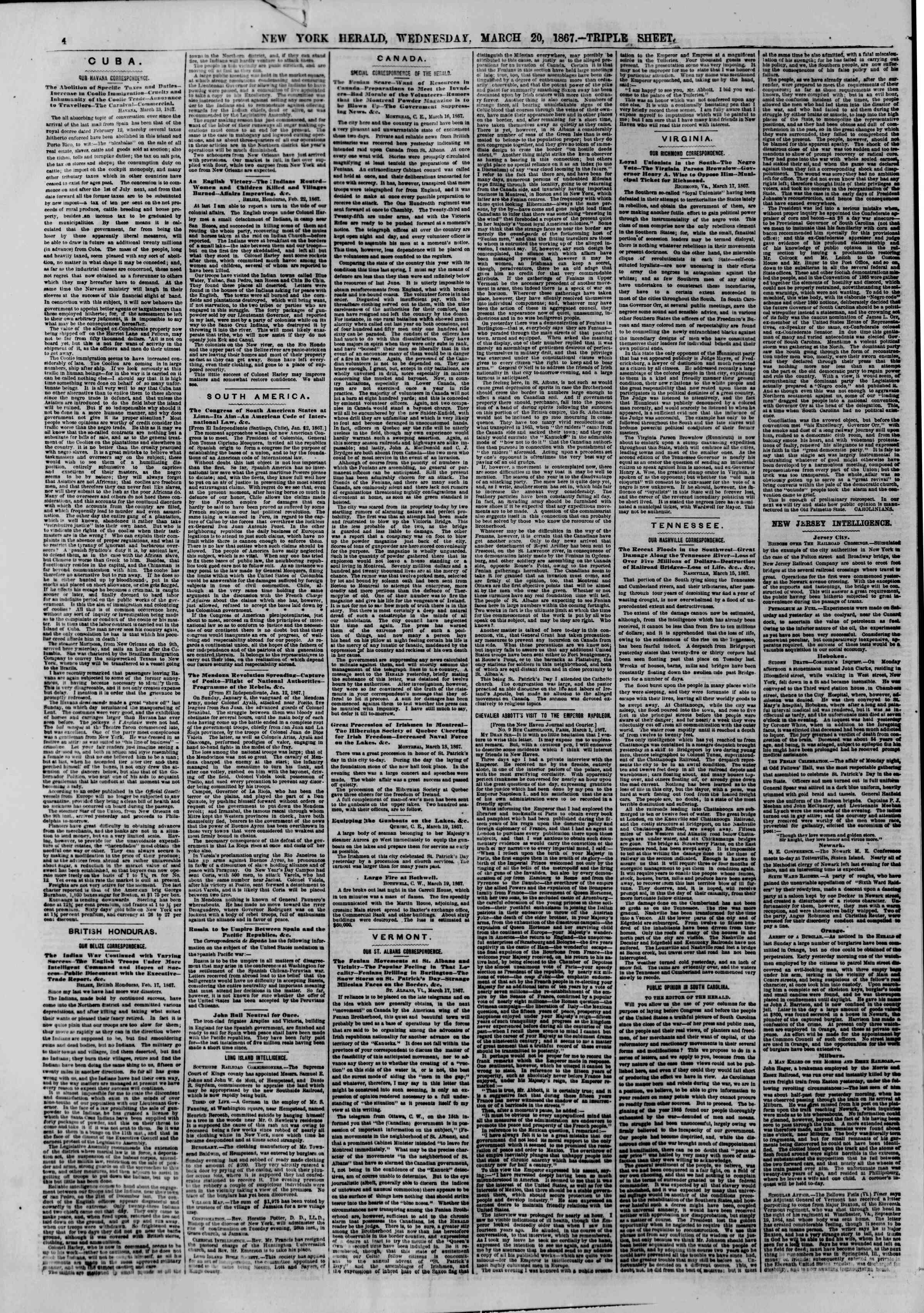Newspaper of The New York Herald dated March 20, 1867 Page 4