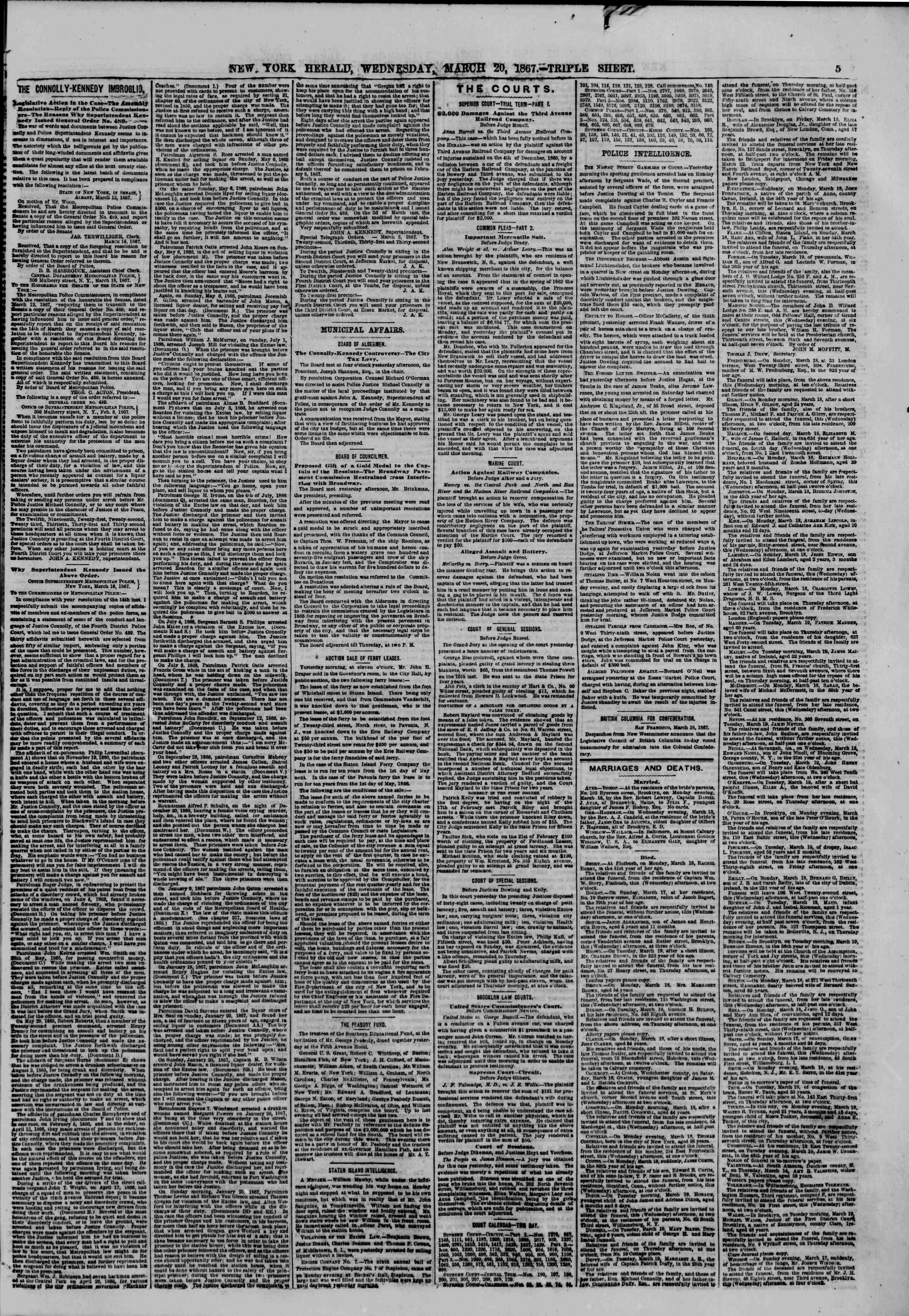 Newspaper of The New York Herald dated March 20, 1867 Page 5