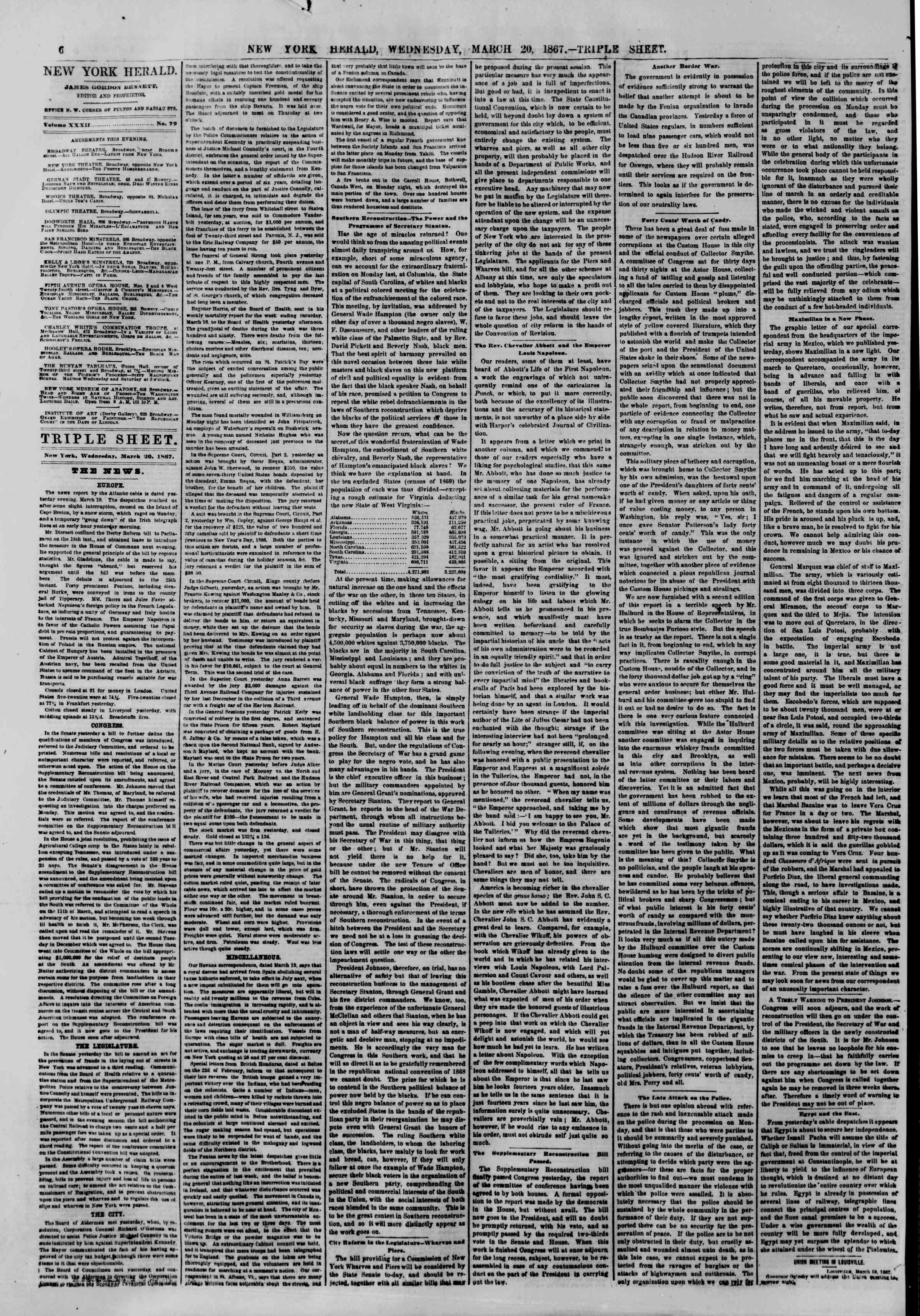 Newspaper of The New York Herald dated March 20, 1867 Page 6