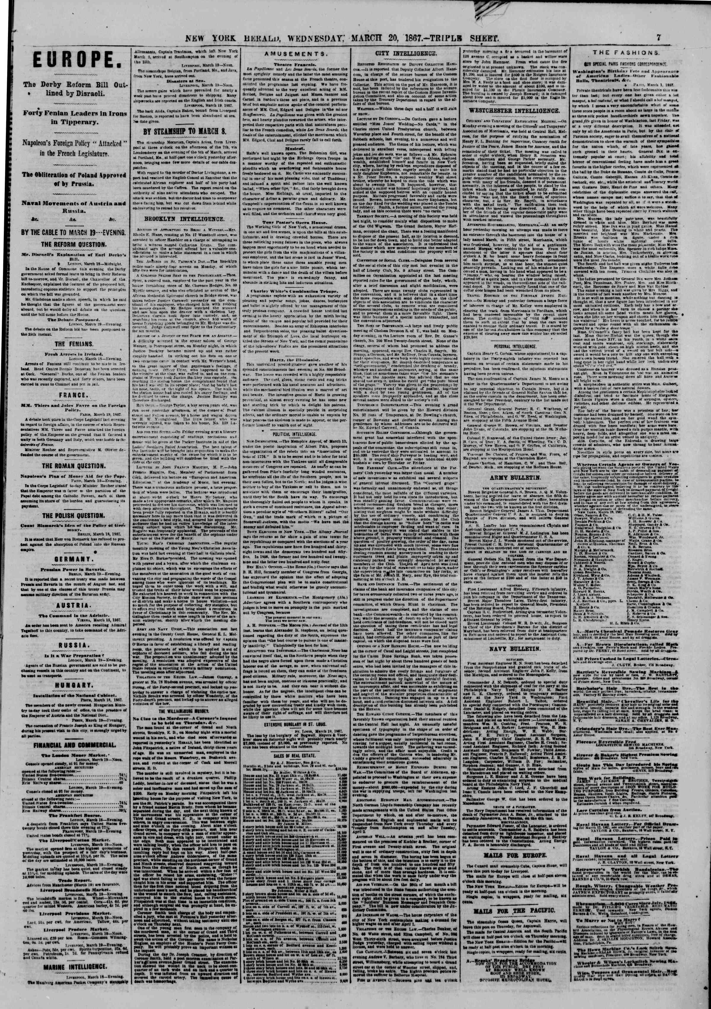 Newspaper of The New York Herald dated March 20, 1867 Page 7