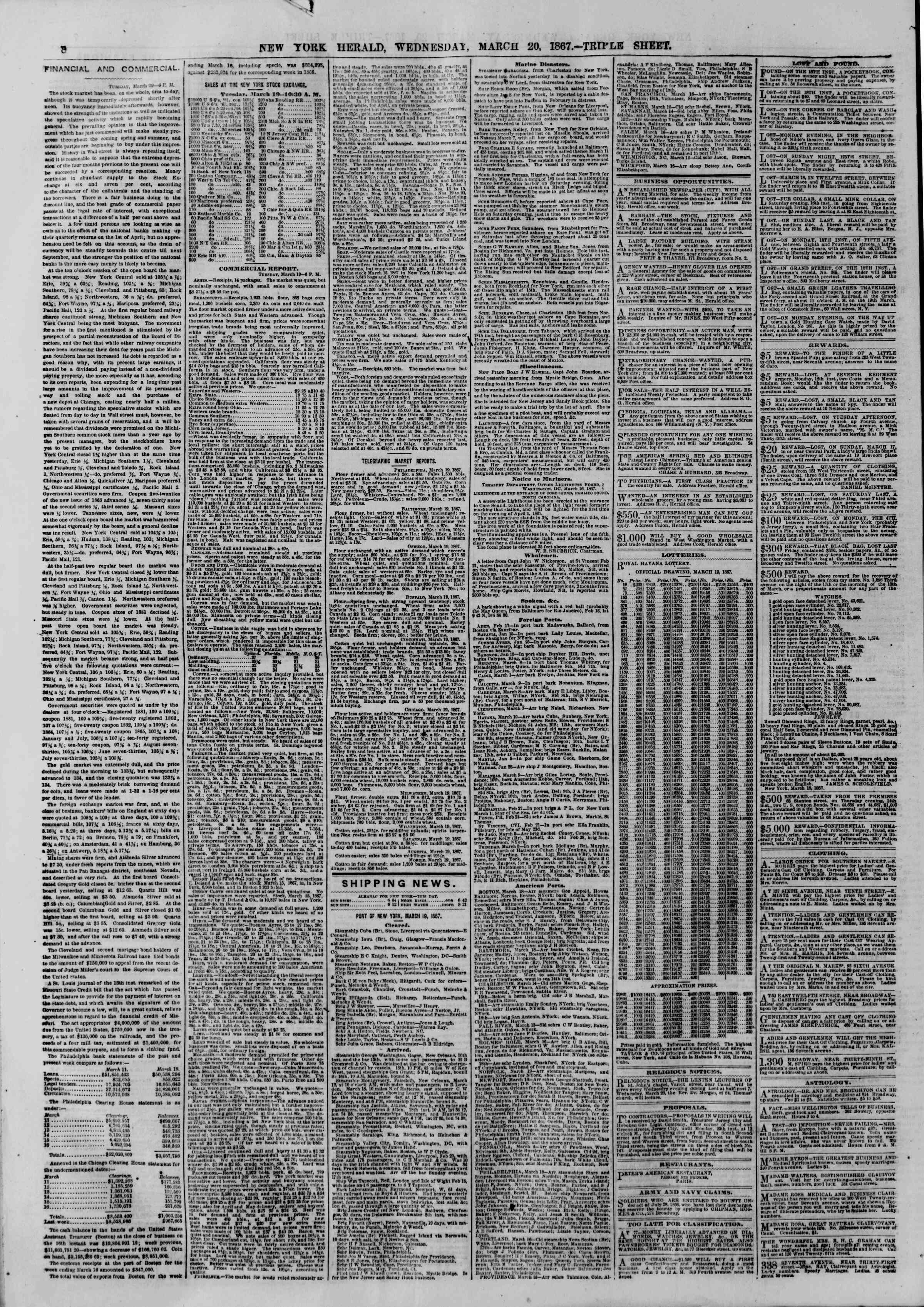 Newspaper of The New York Herald dated March 20, 1867 Page 8