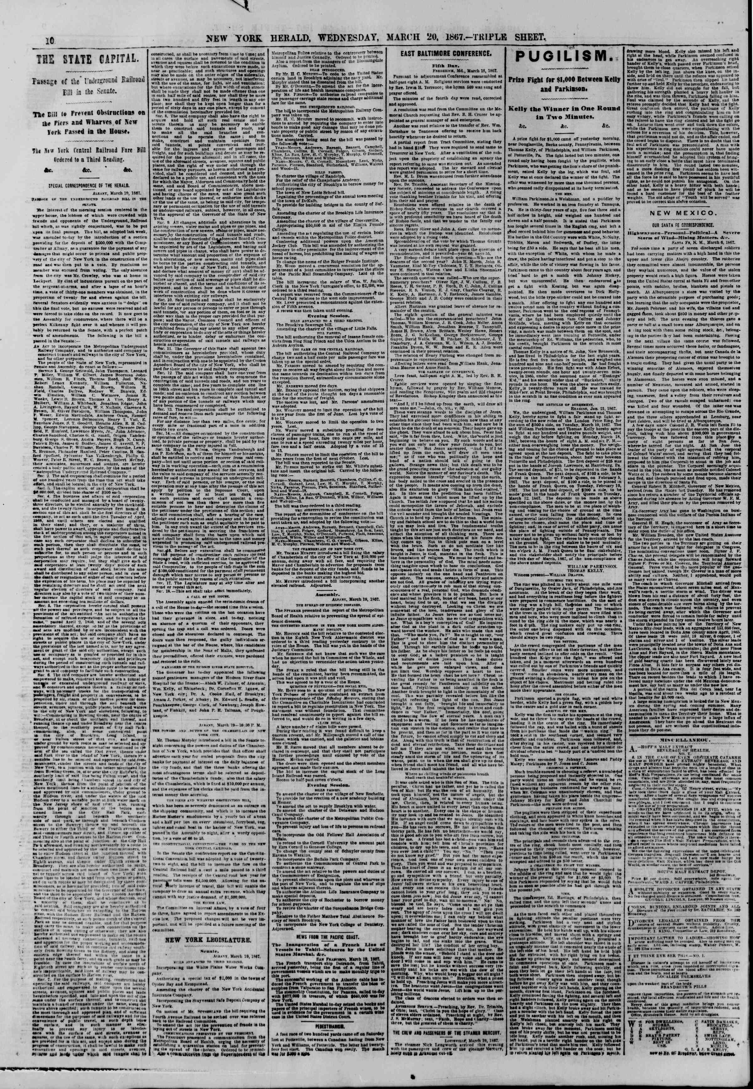 Newspaper of The New York Herald dated March 20, 1867 Page 10