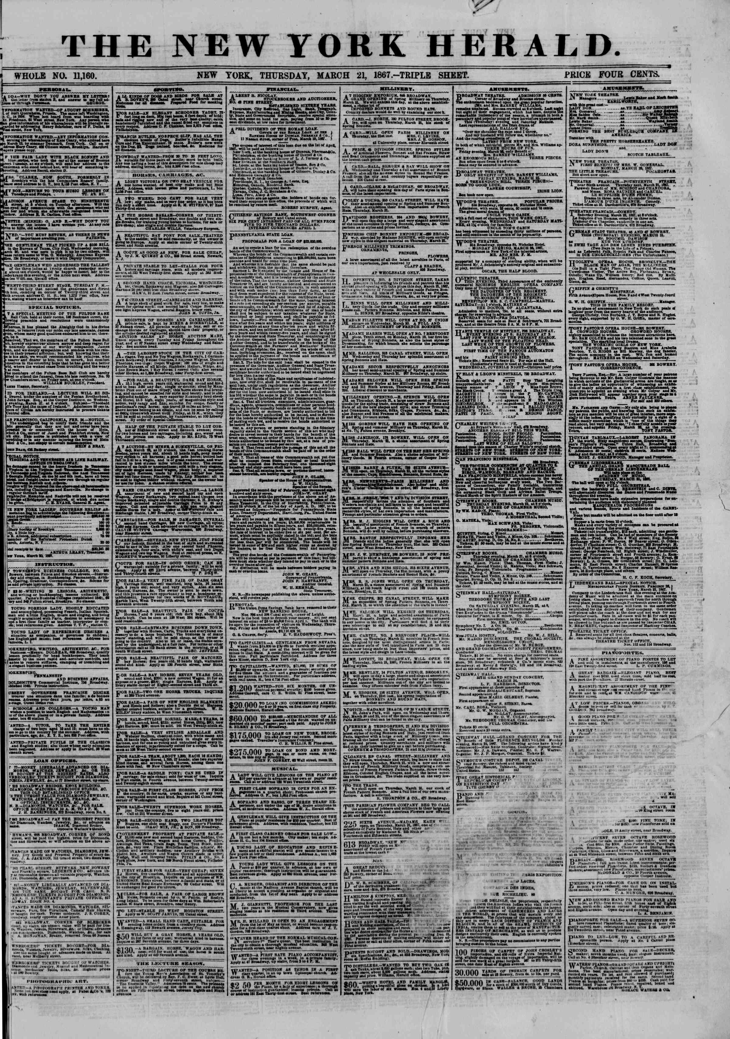Newspaper of The New York Herald dated March 21, 1867 Page 1