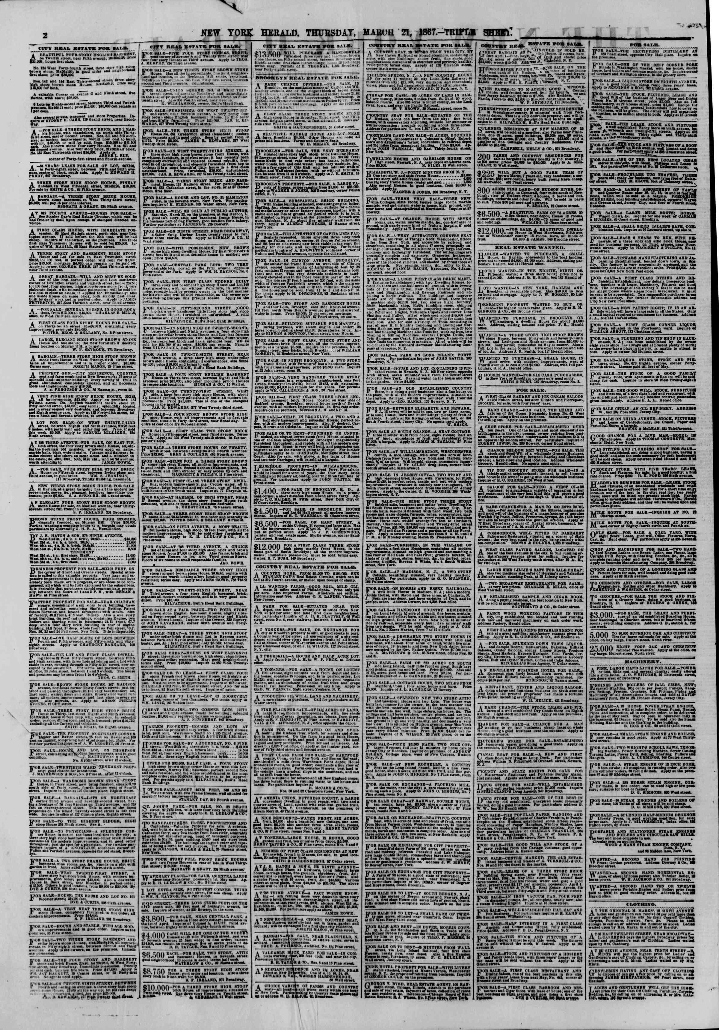 Newspaper of The New York Herald dated 21 Mart 1867 Page 2