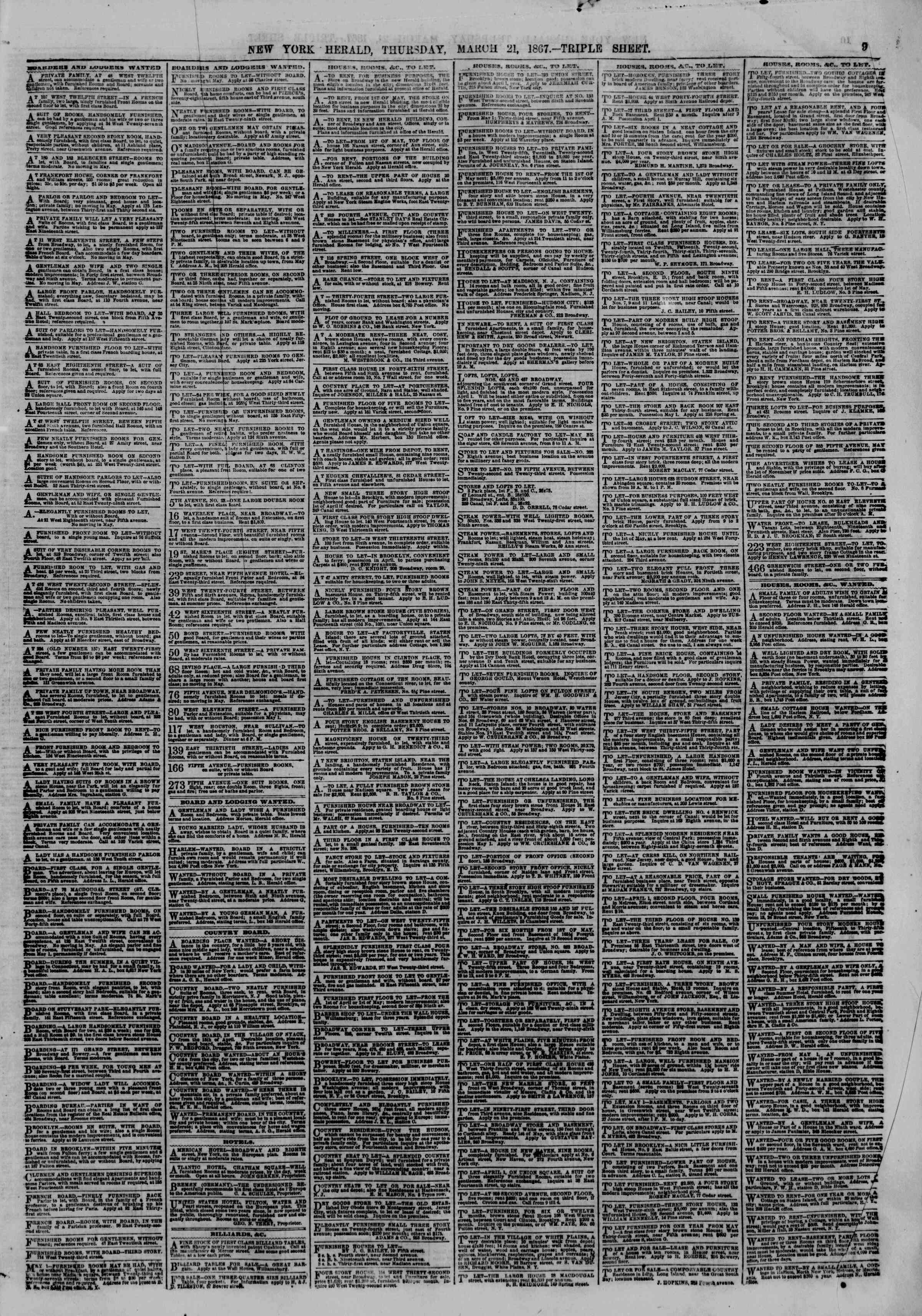 Newspaper of The New York Herald dated March 21, 1867 Page 11