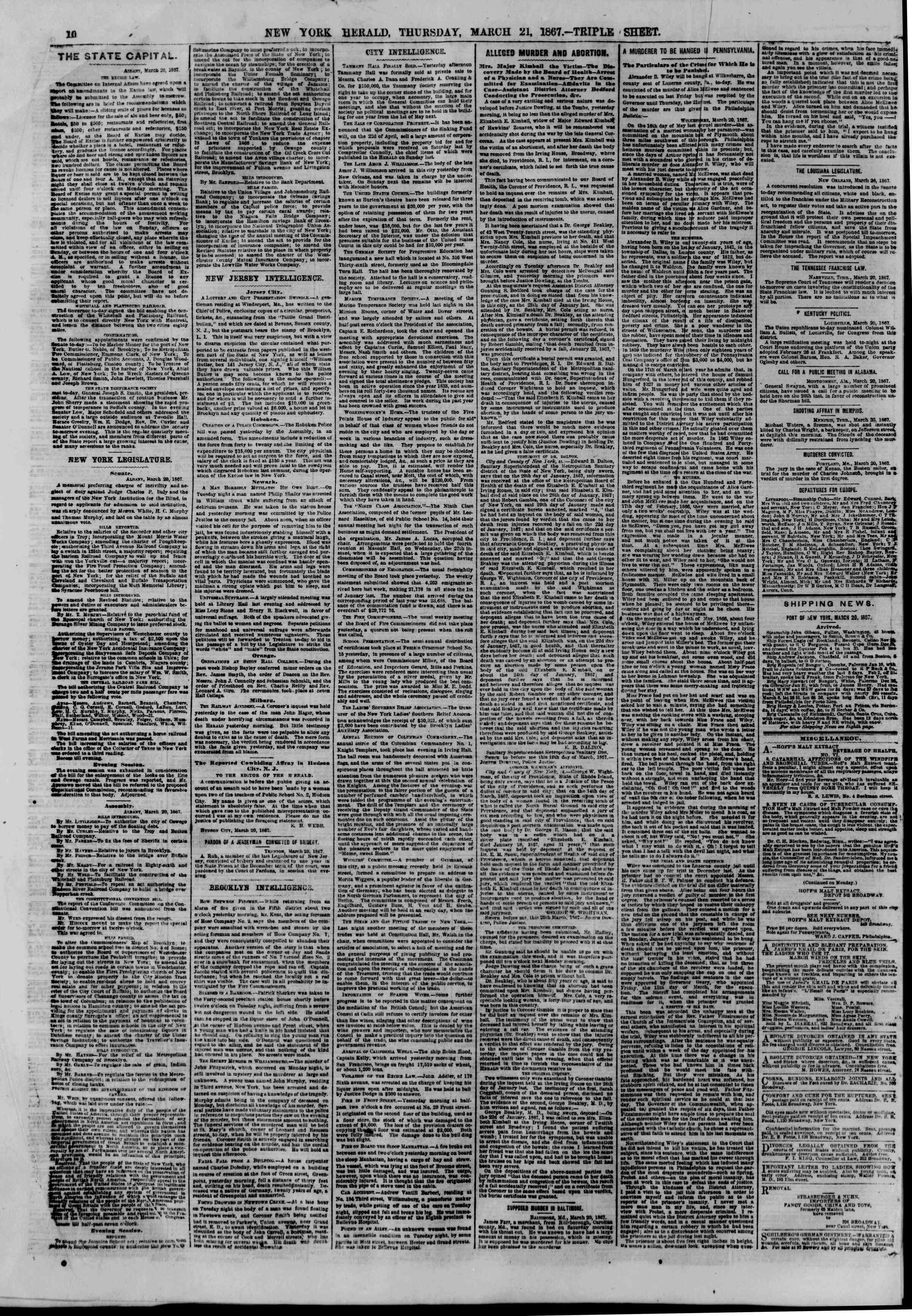 Newspaper of The New York Herald dated March 21, 1867 Page 12