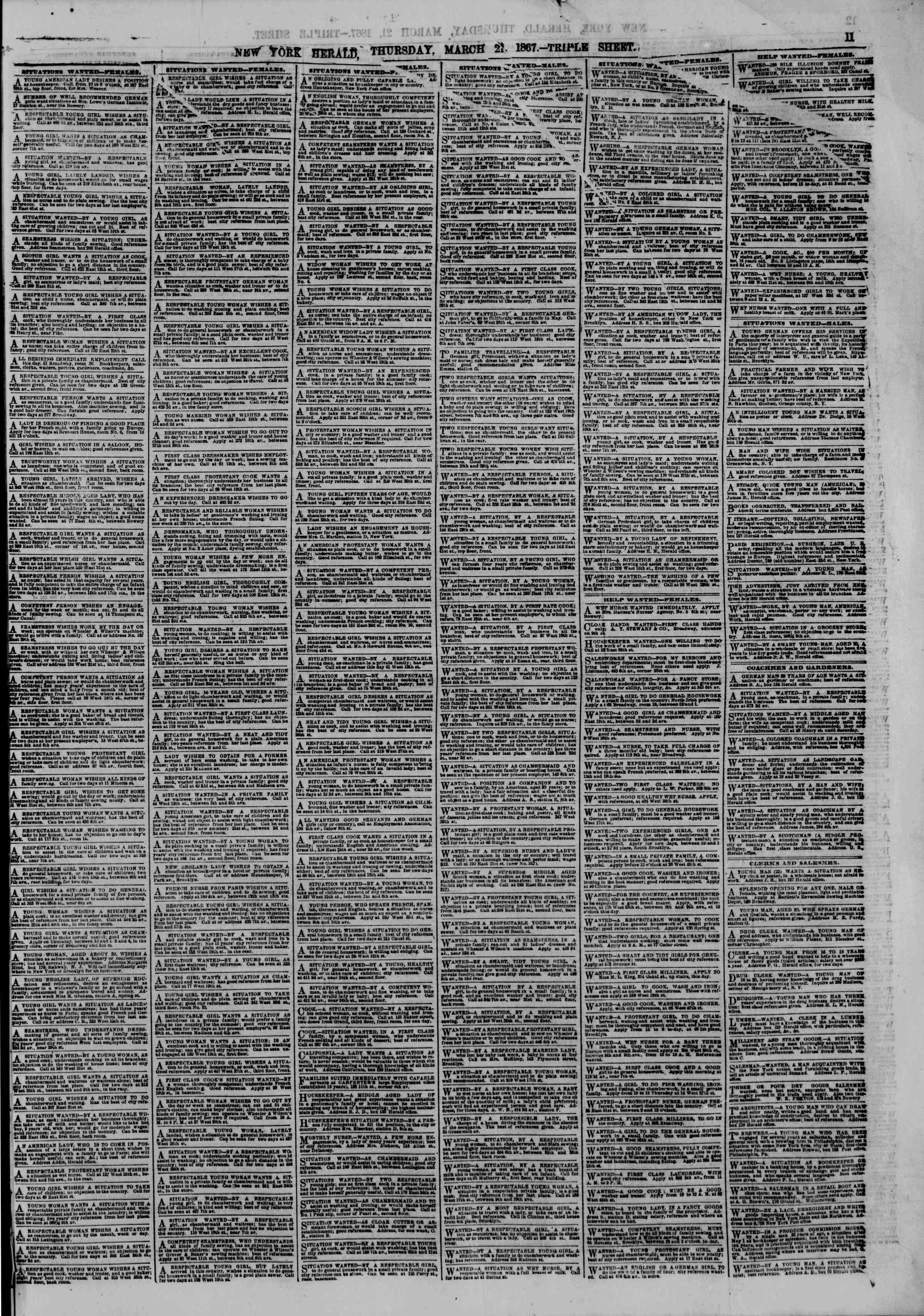 Newspaper of The New York Herald dated March 21, 1867 Page 13