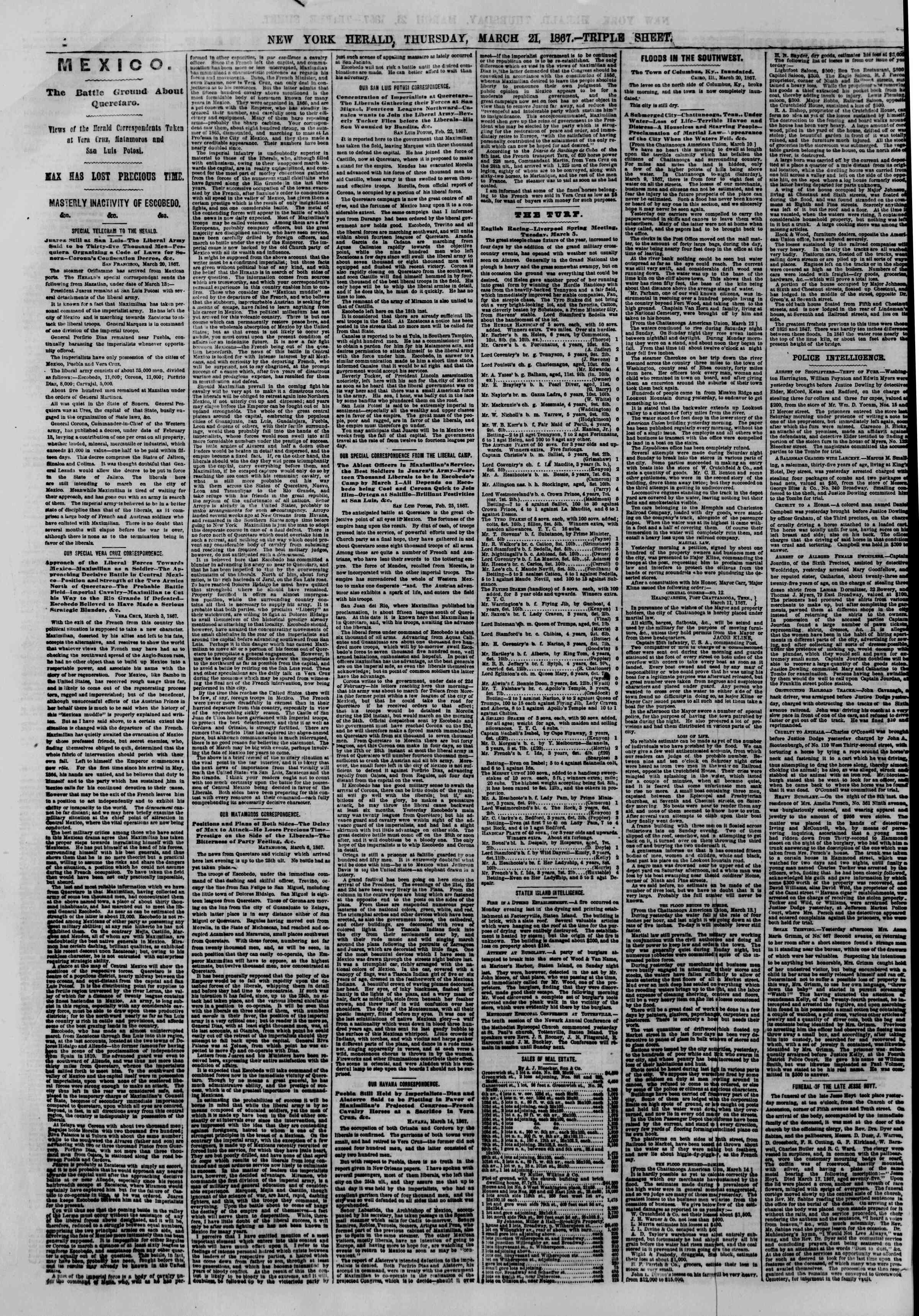 Newspaper of The New York Herald dated March 21, 1867 Page 4