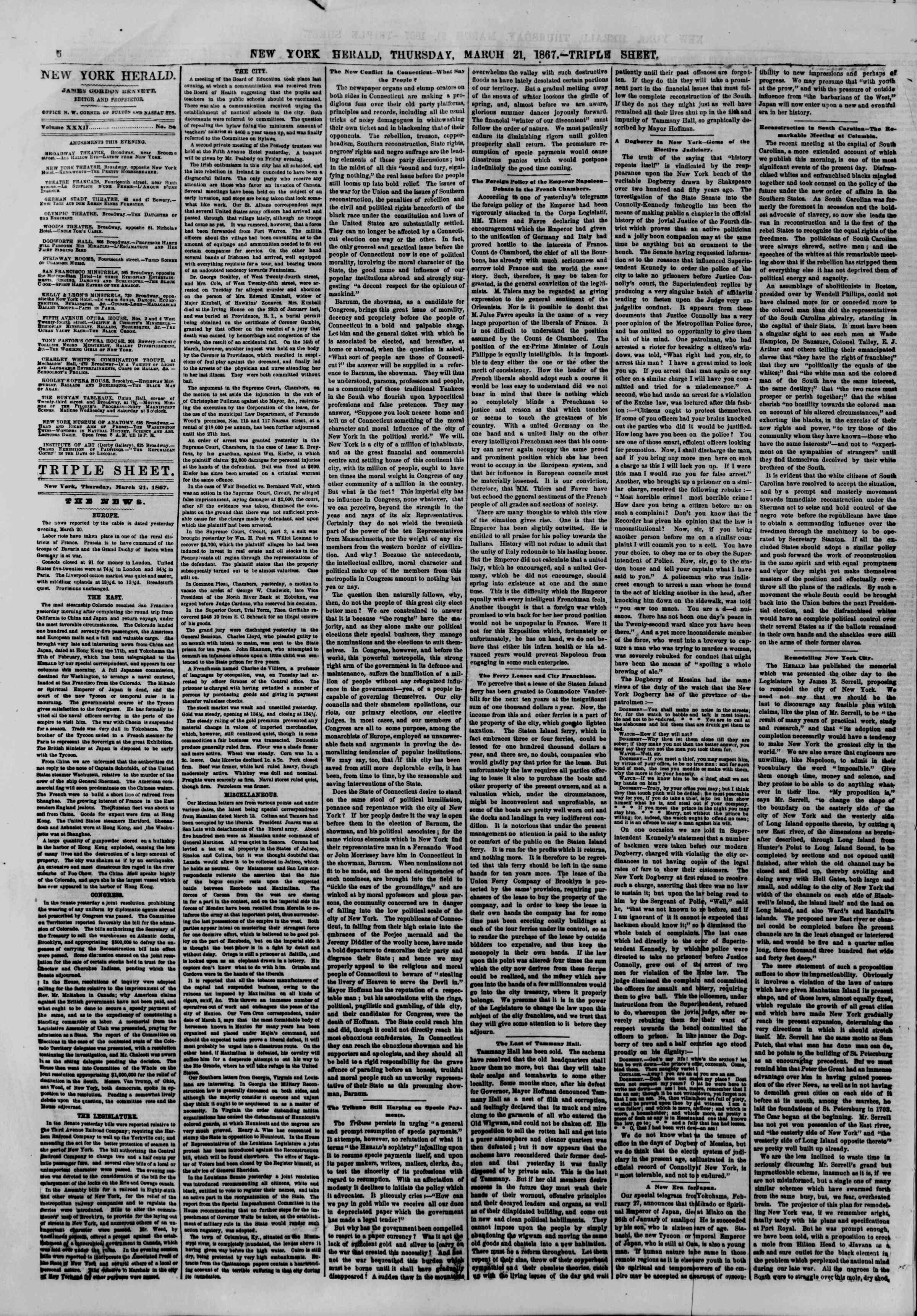 Newspaper of The New York Herald dated March 21, 1867 Page 6