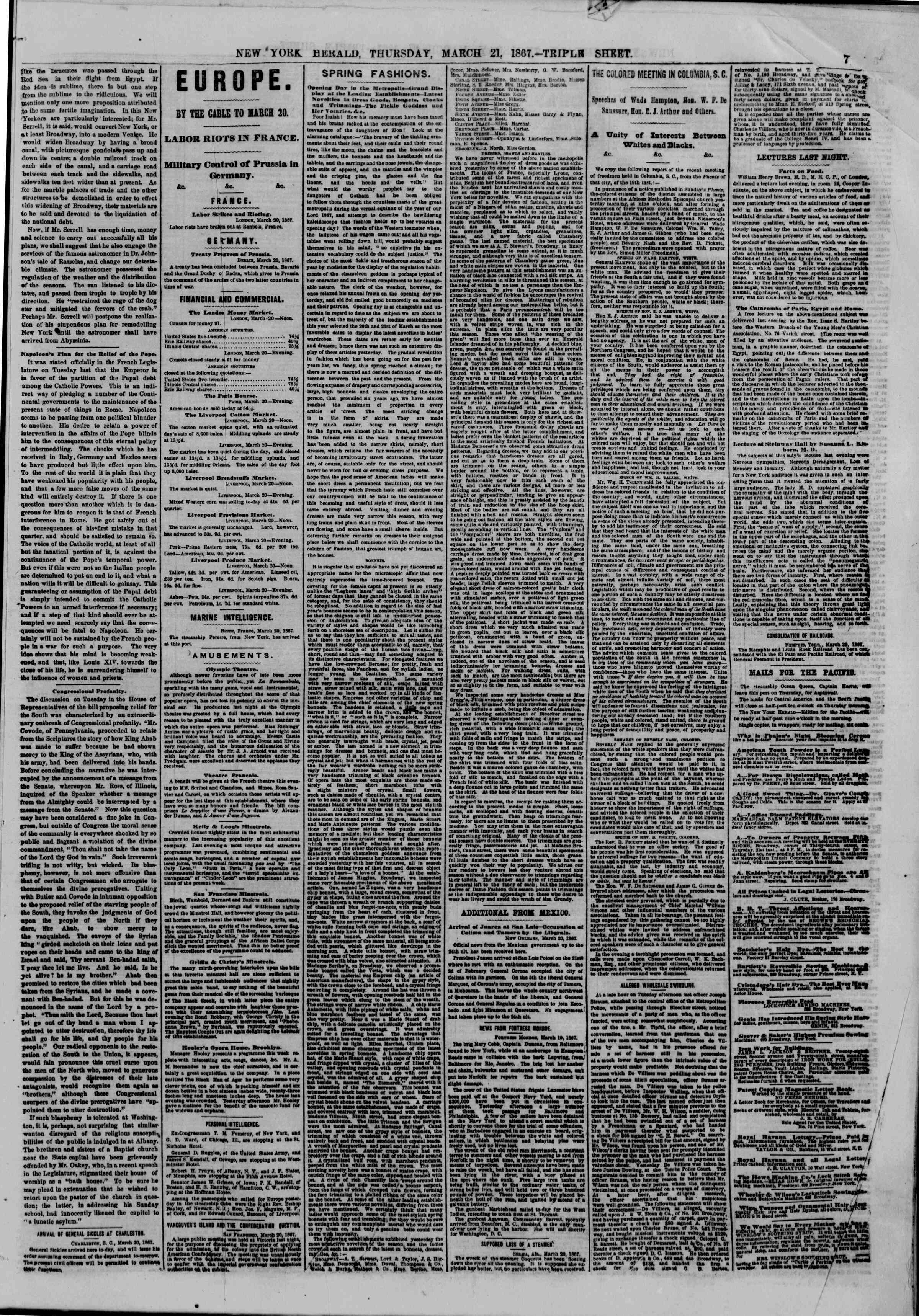 Newspaper of The New York Herald dated March 21, 1867 Page 7