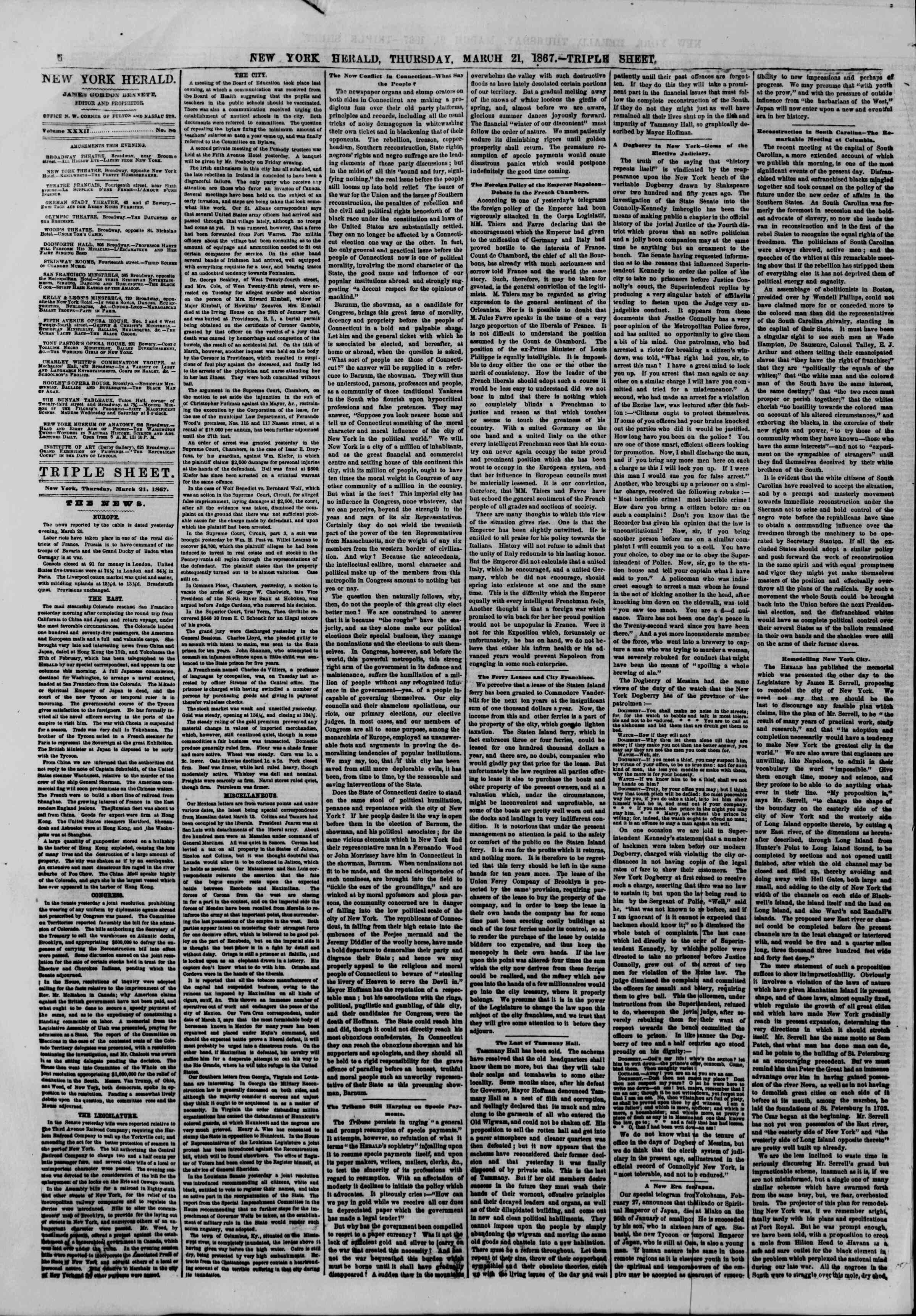 Newspaper of The New York Herald dated March 21, 1867 Page 8