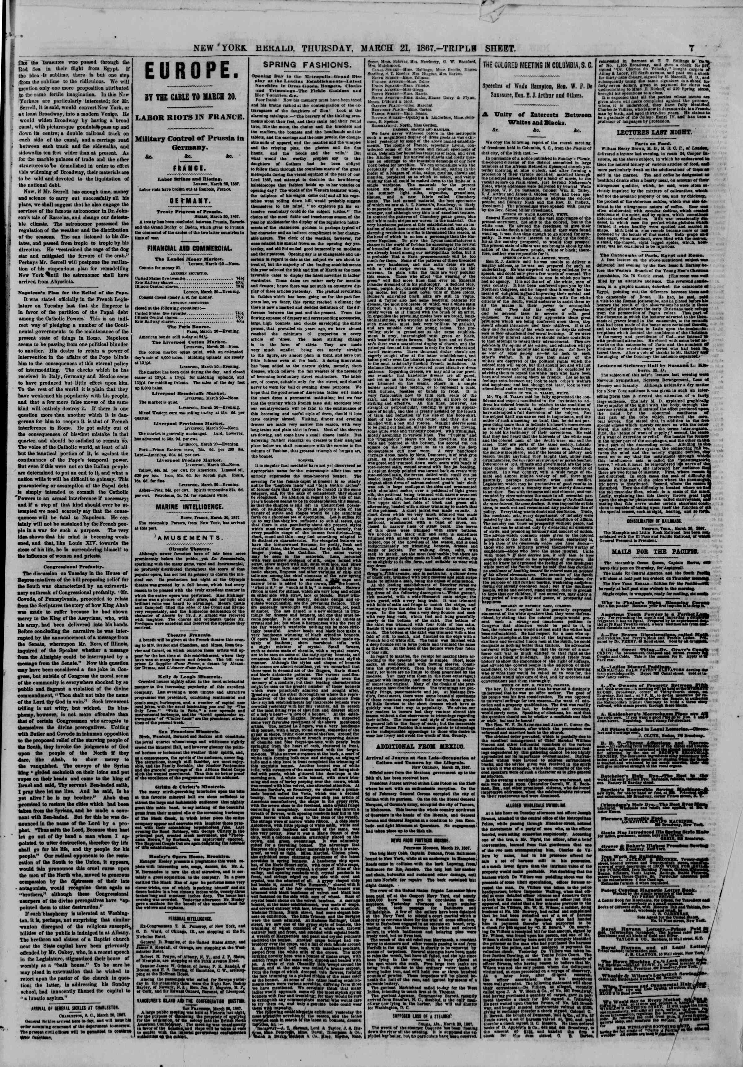 Newspaper of The New York Herald dated March 21, 1867 Page 9