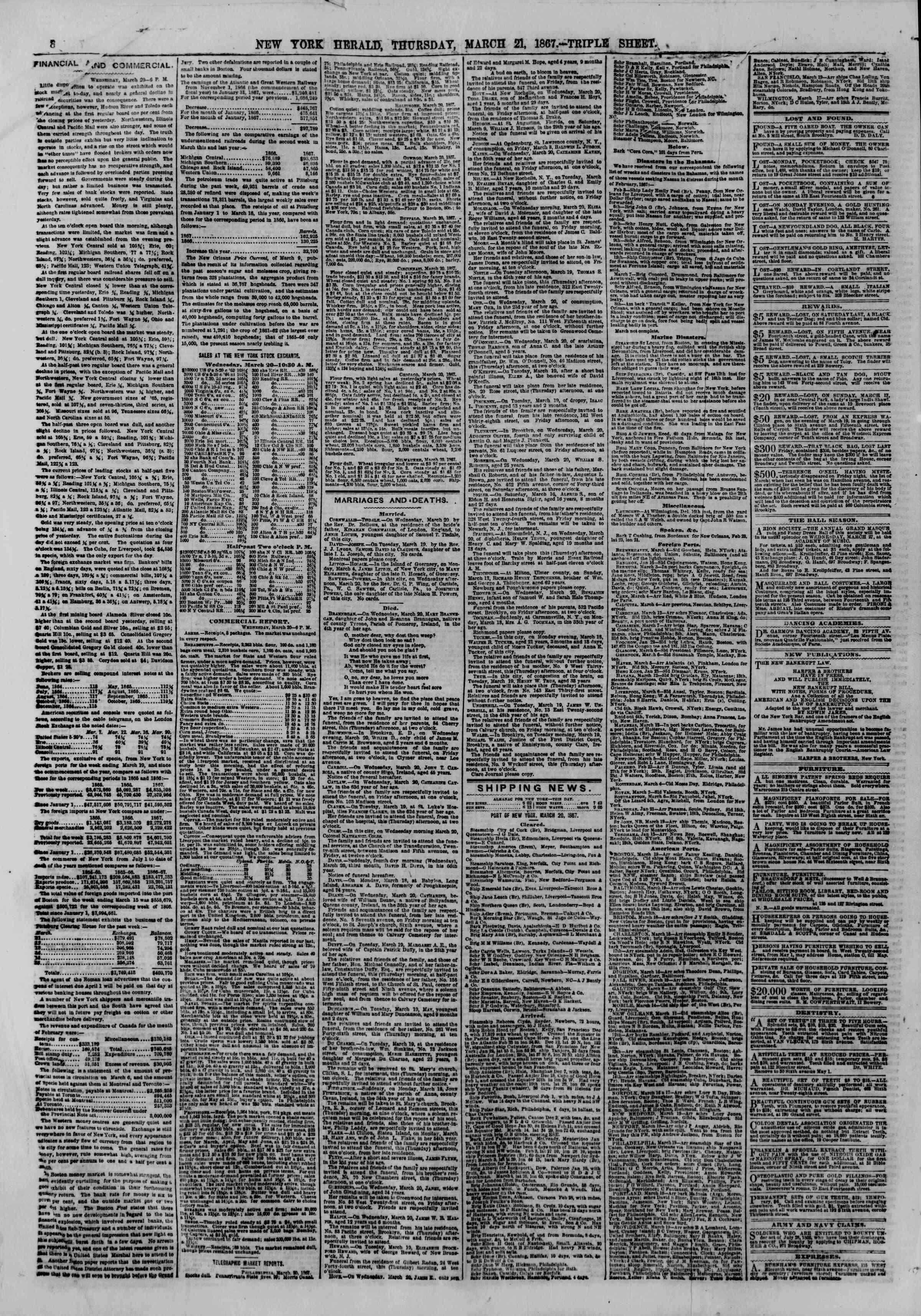 Newspaper of The New York Herald dated March 21, 1867 Page 10