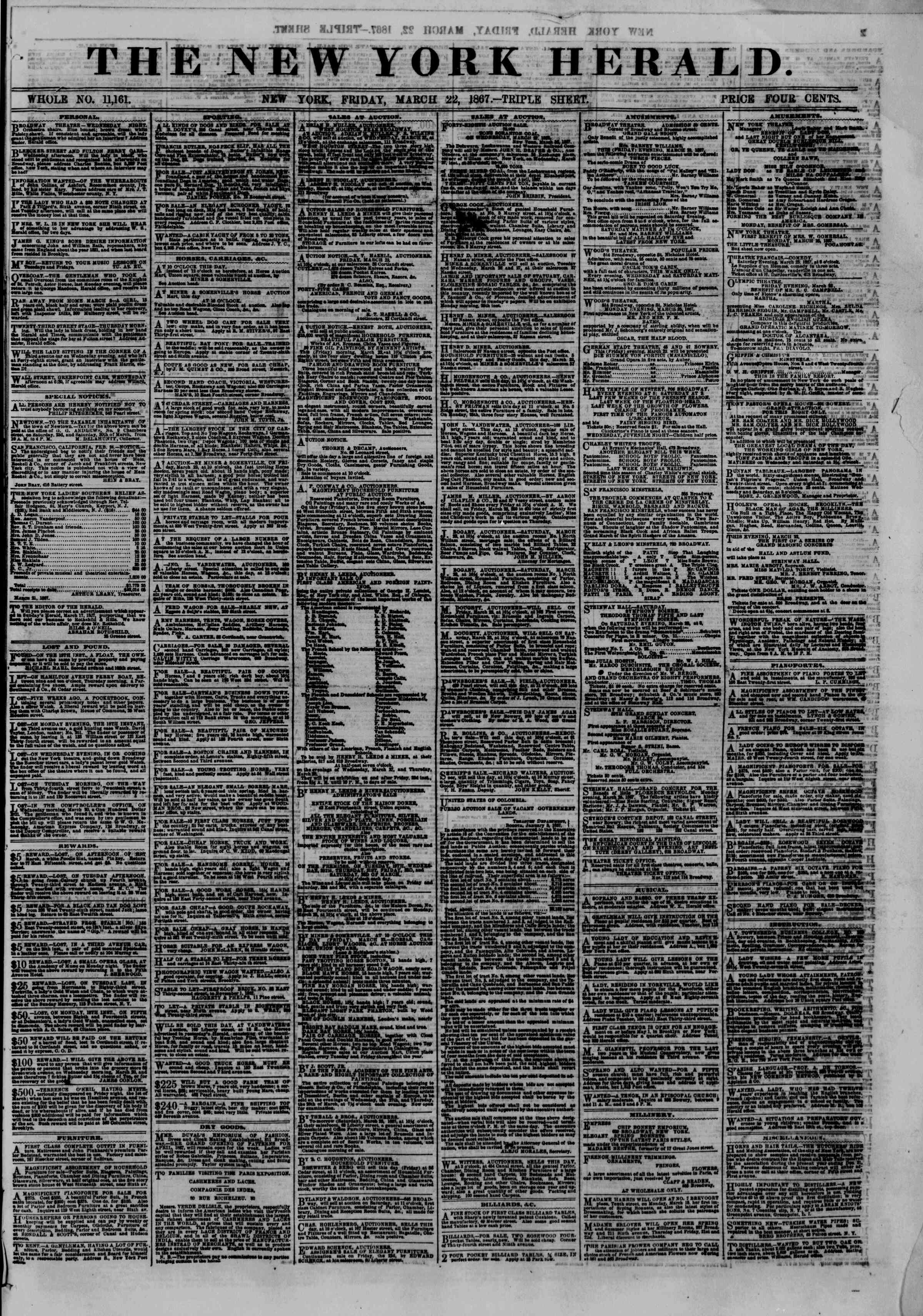 Newspaper of The New York Herald dated March 22, 1867 Page 1