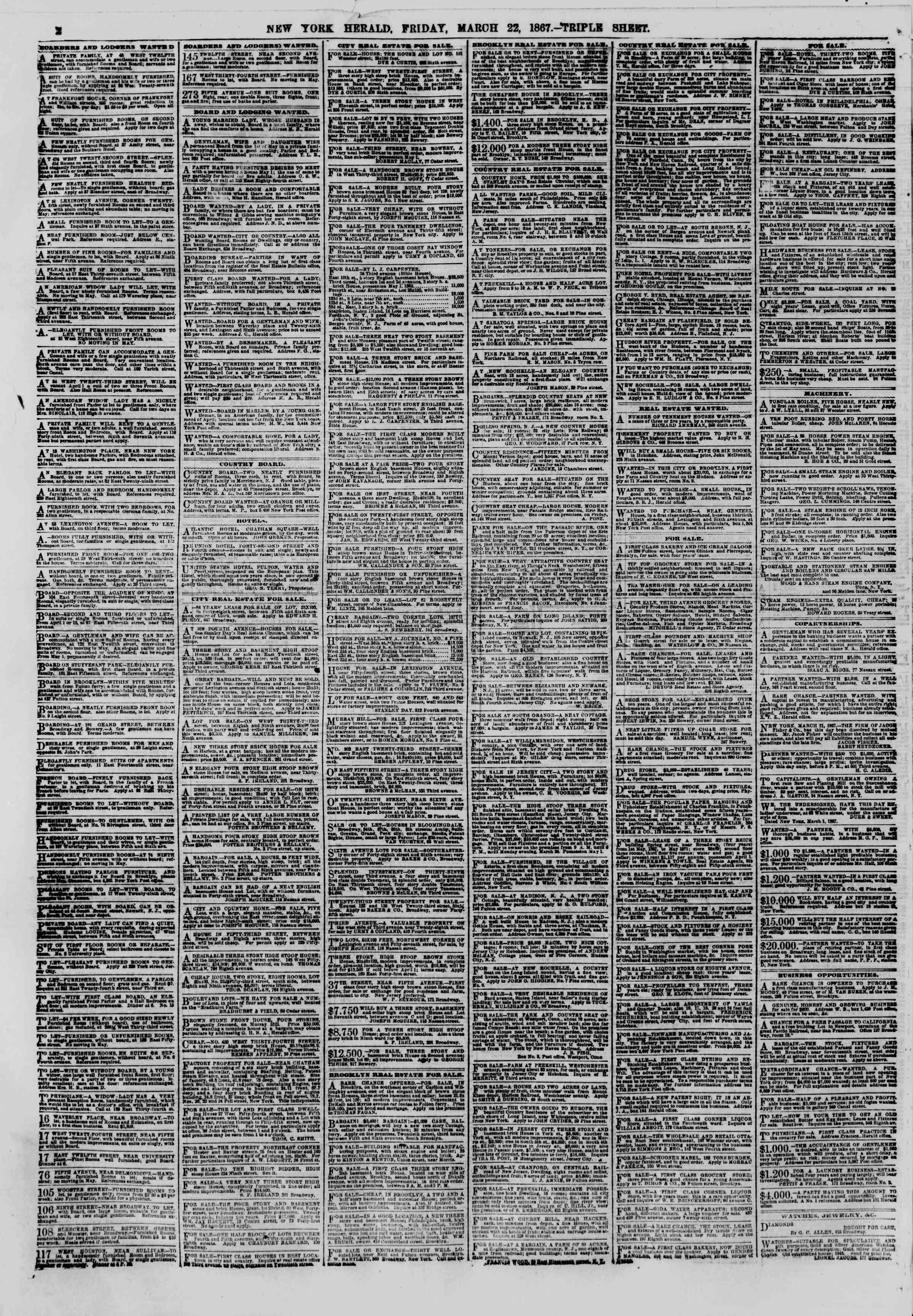 Newspaper of The New York Herald dated March 22, 1867 Page 2
