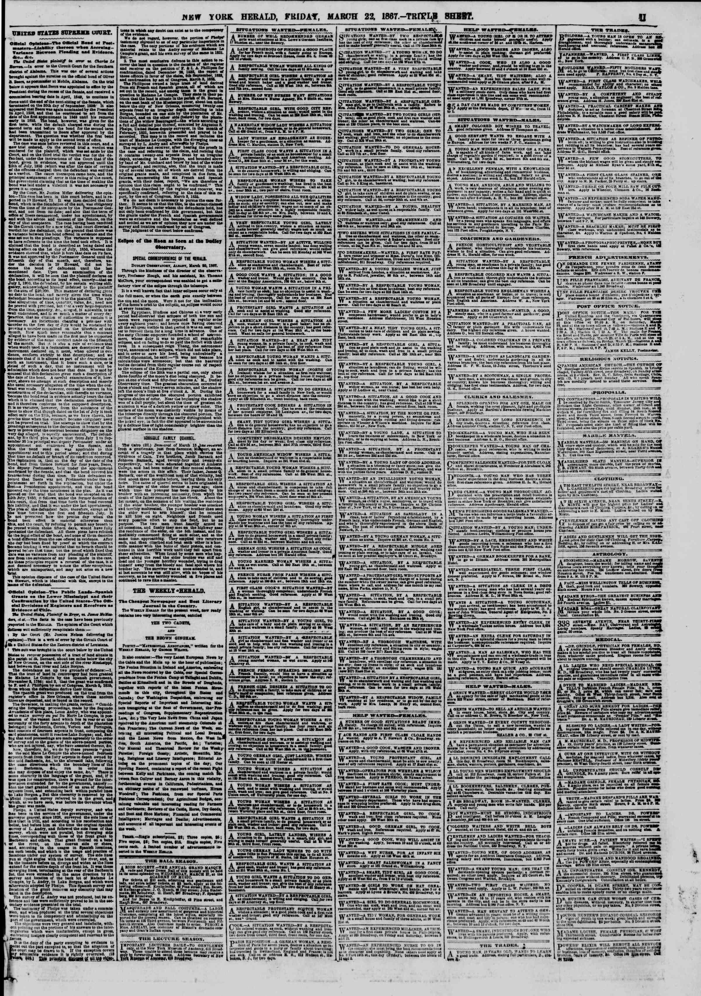 Newspaper of The New York Herald dated March 22, 1867 Page 11