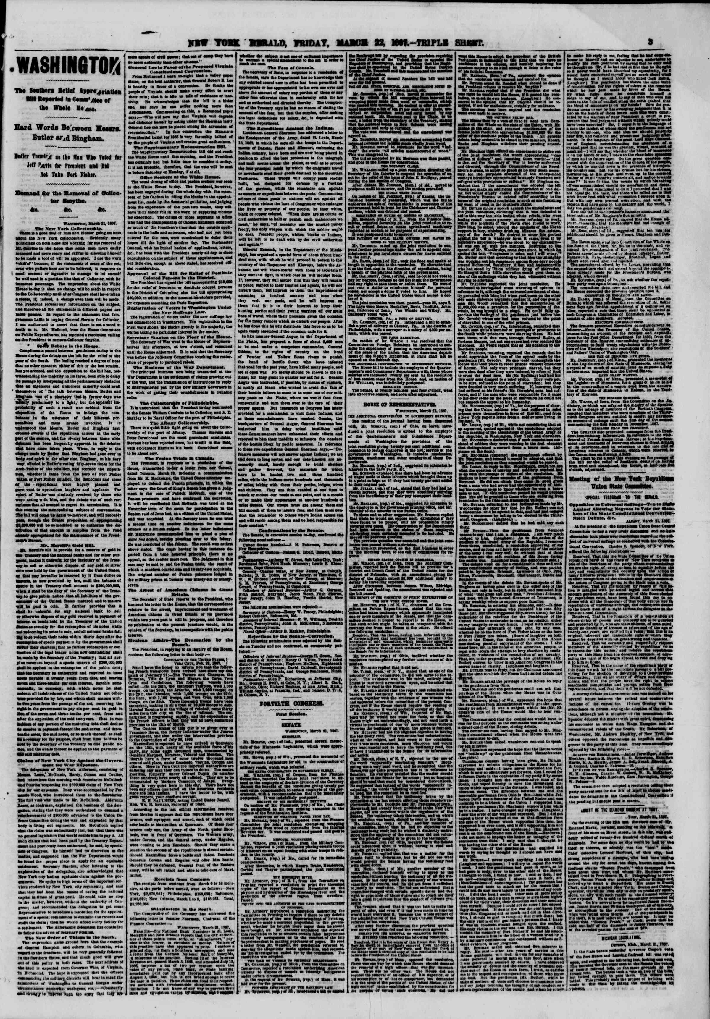 Newspaper of The New York Herald dated March 22, 1867 Page 3