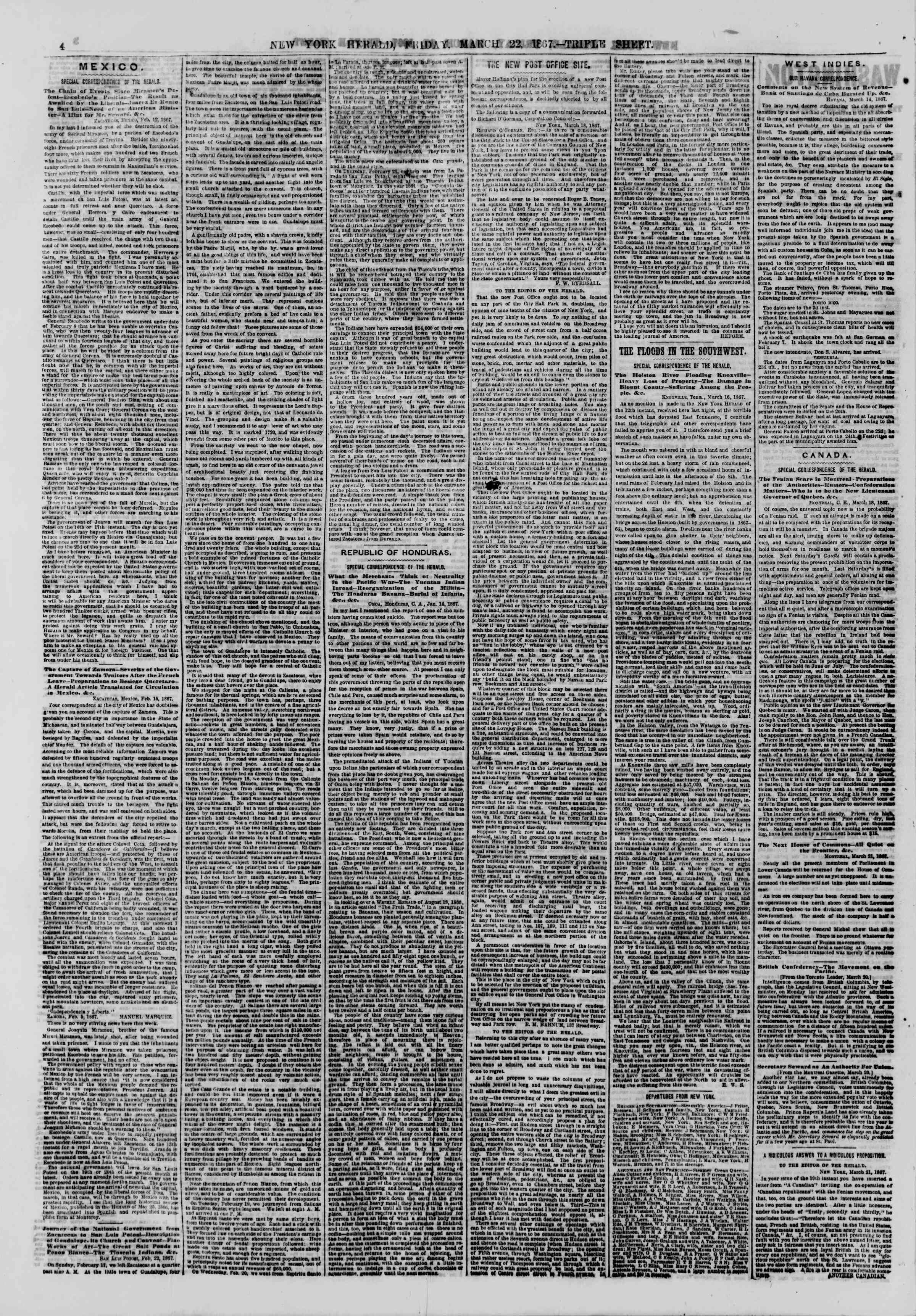Newspaper of The New York Herald dated March 22, 1867 Page 4