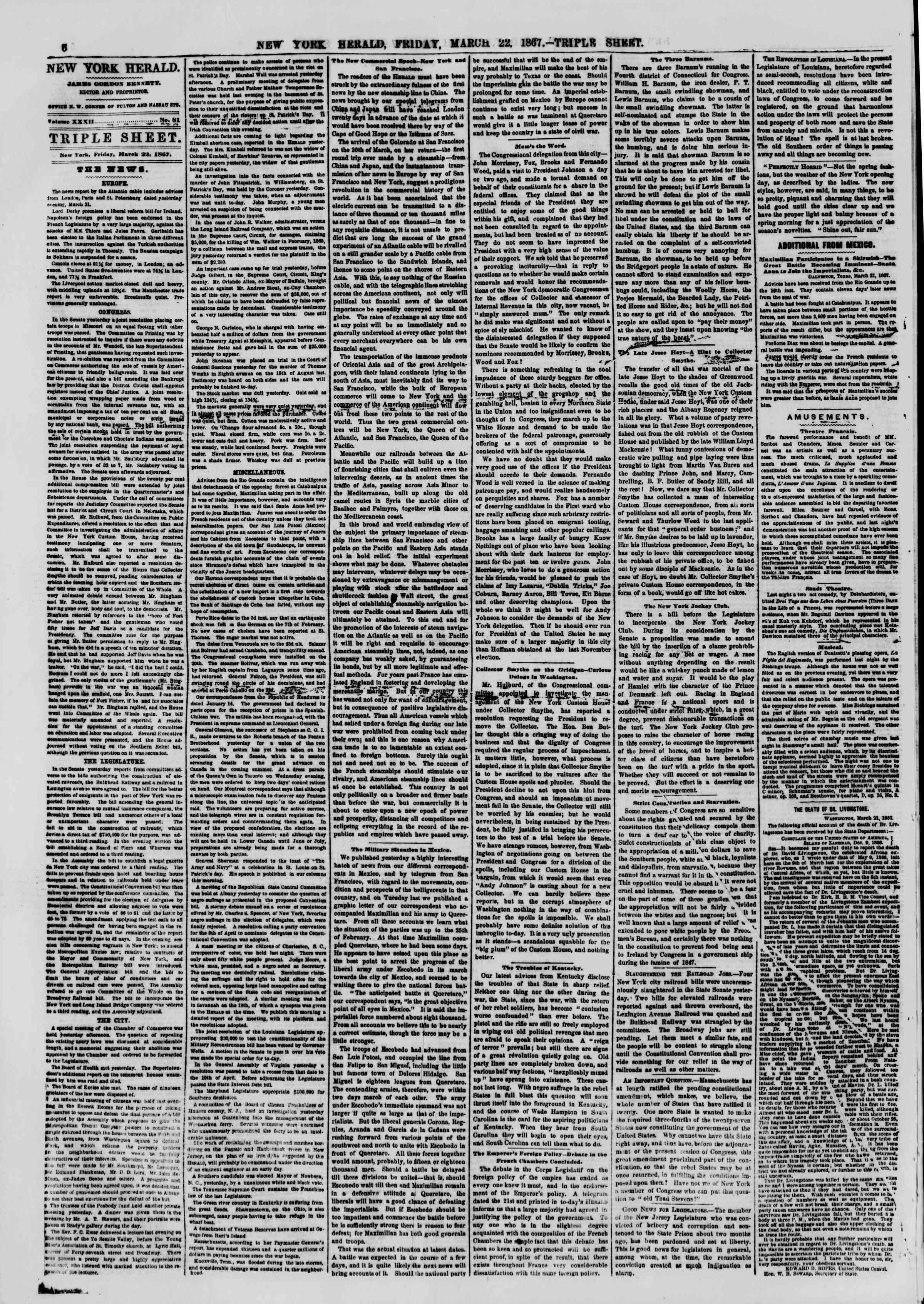 Newspaper of The New York Herald dated March 22, 1867 Page 6