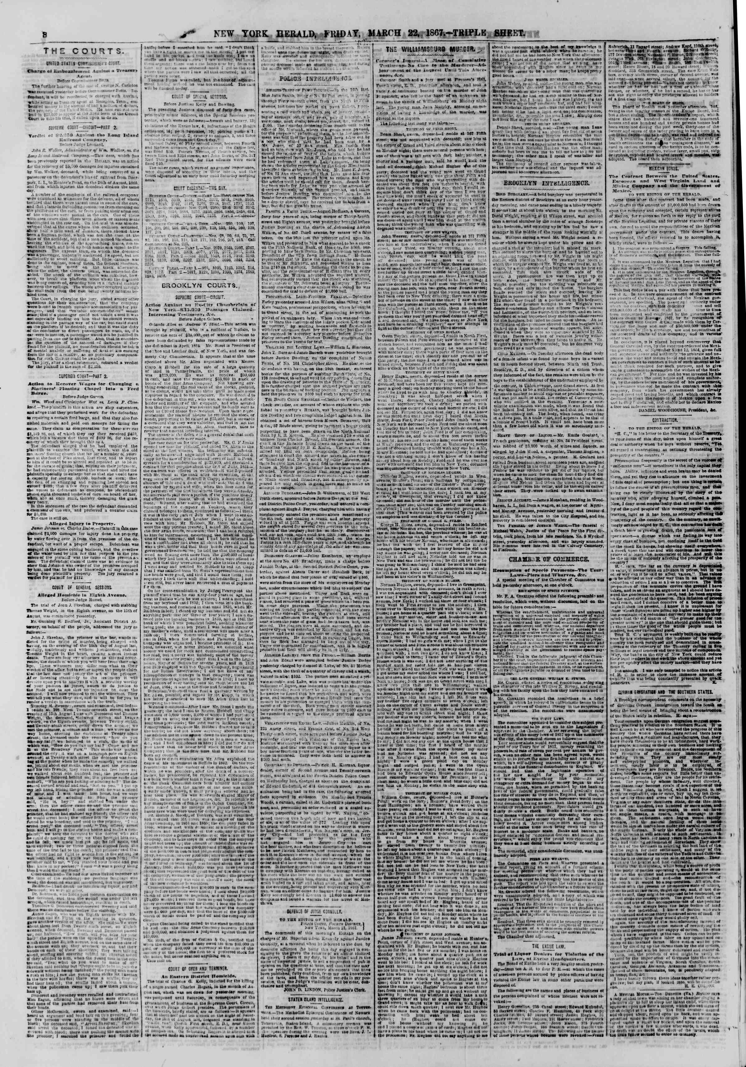 Newspaper of The New York Herald dated March 22, 1867 Page 8