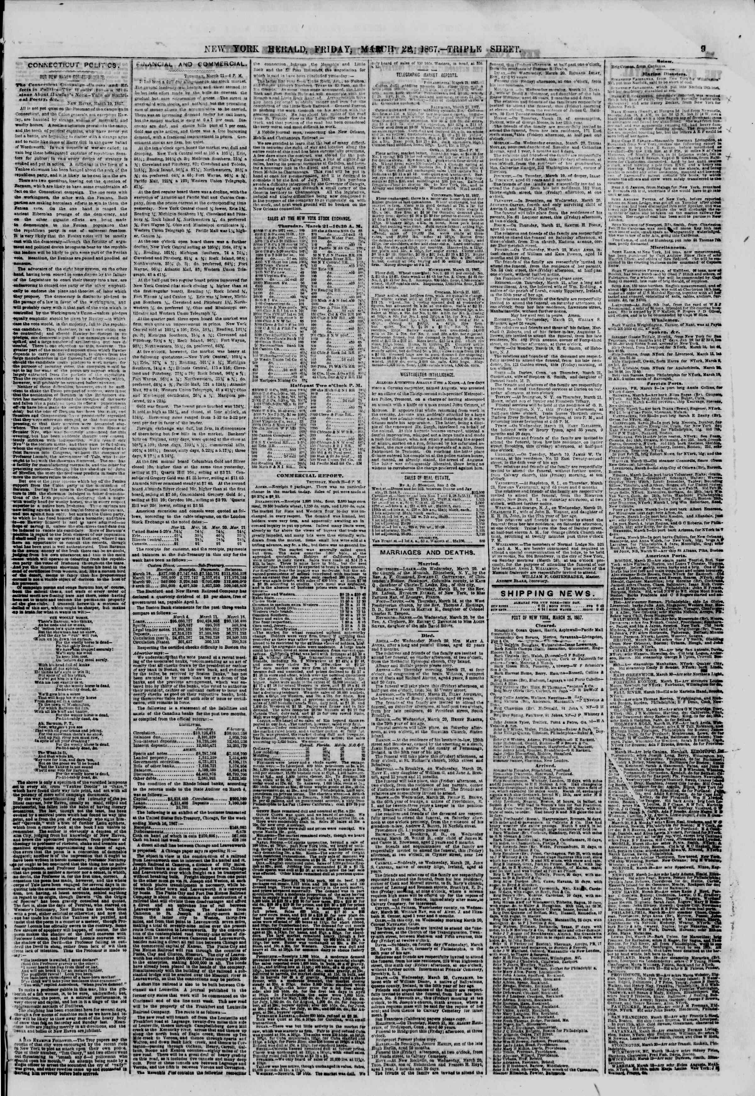 Newspaper of The New York Herald dated March 22, 1867 Page 9