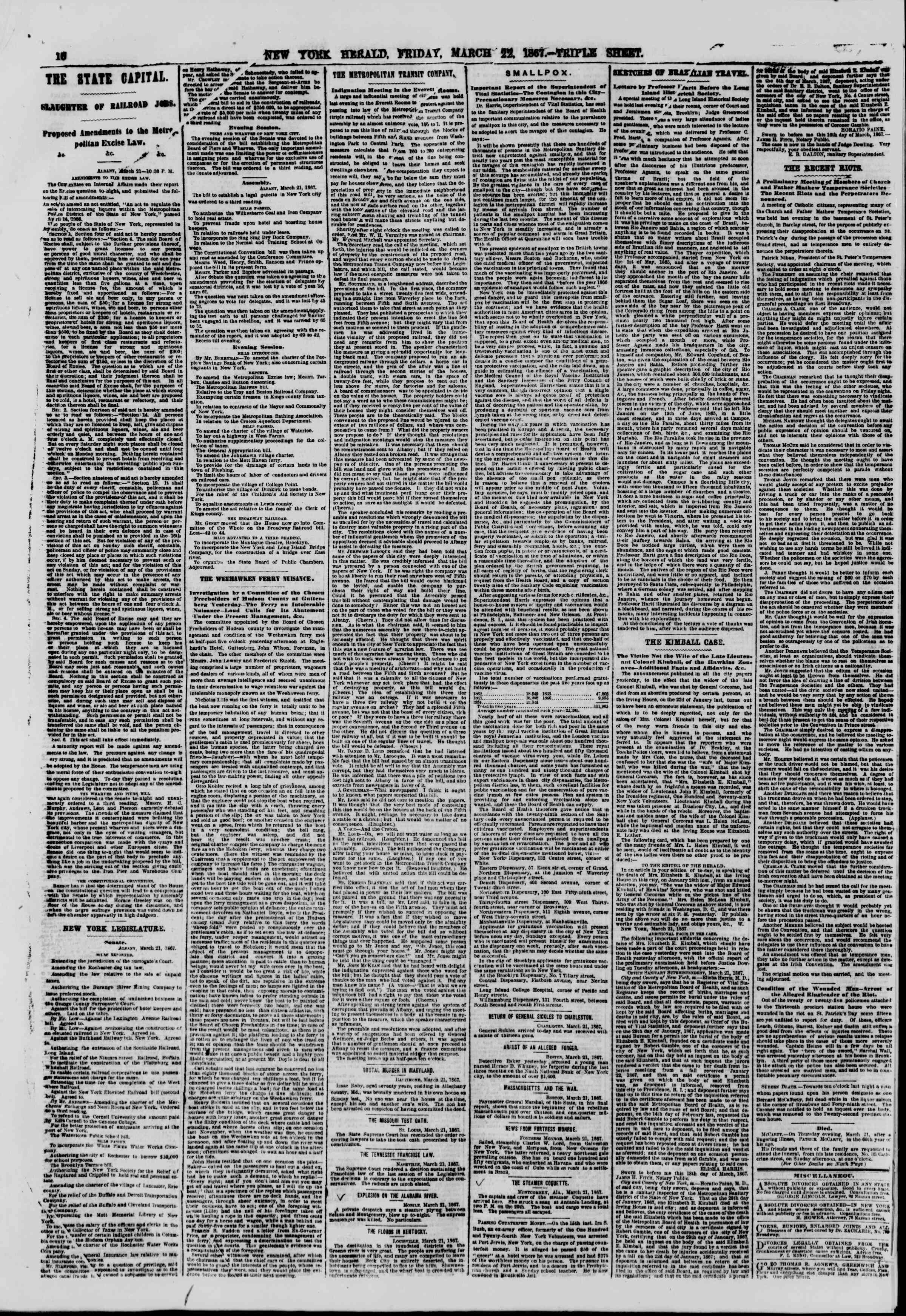 Newspaper of The New York Herald dated March 22, 1867 Page 10