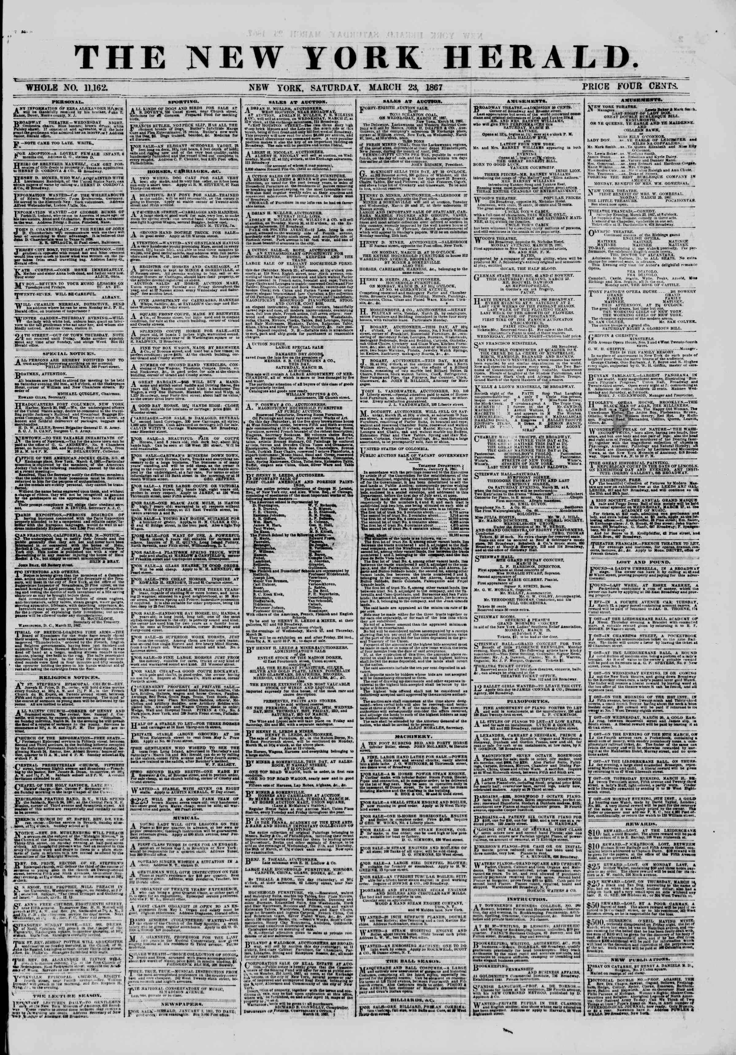 Newspaper of The New York Herald dated March 23, 1867 Page 1