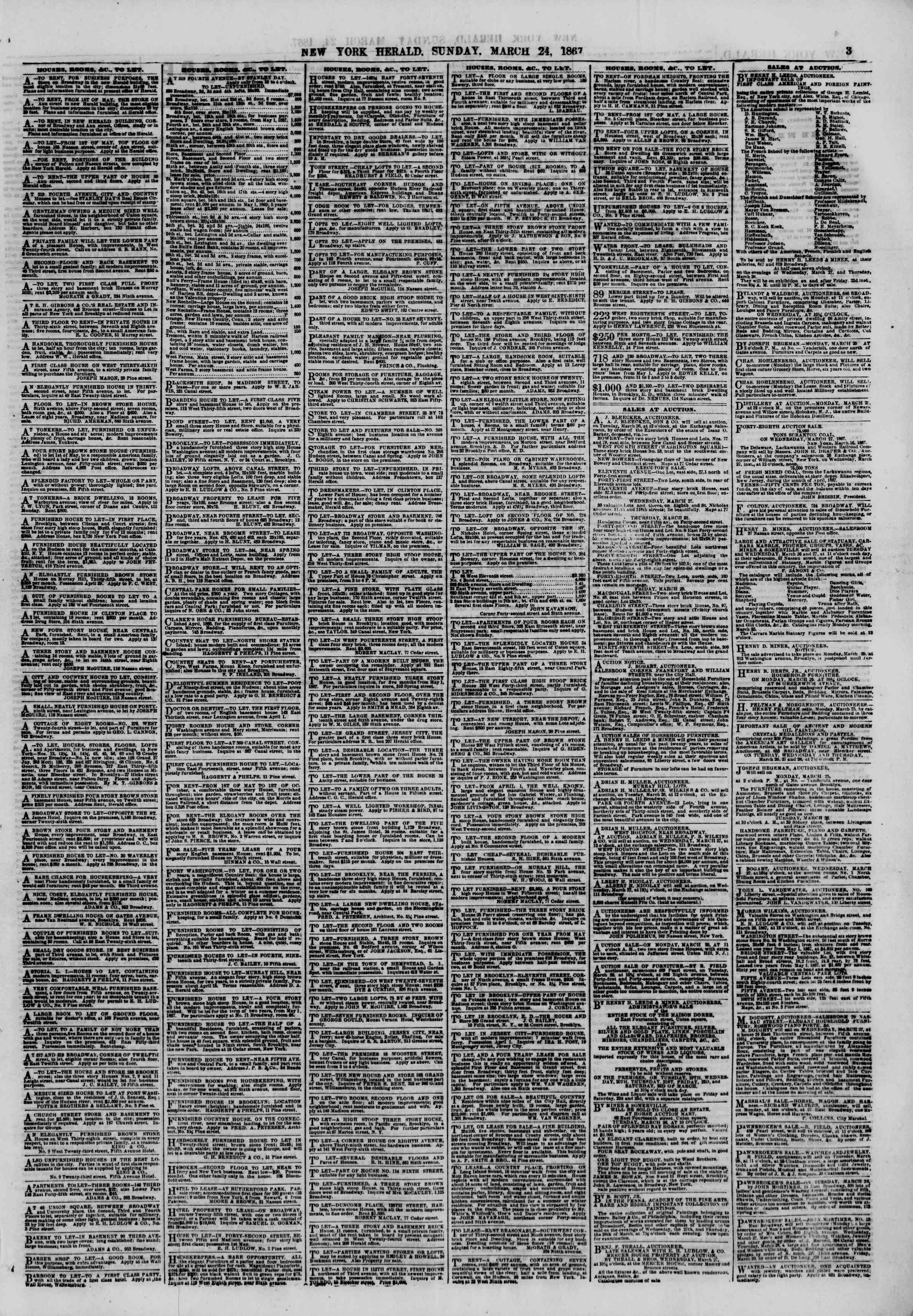 Newspaper of The New York Herald dated March 24, 1867 Page 3