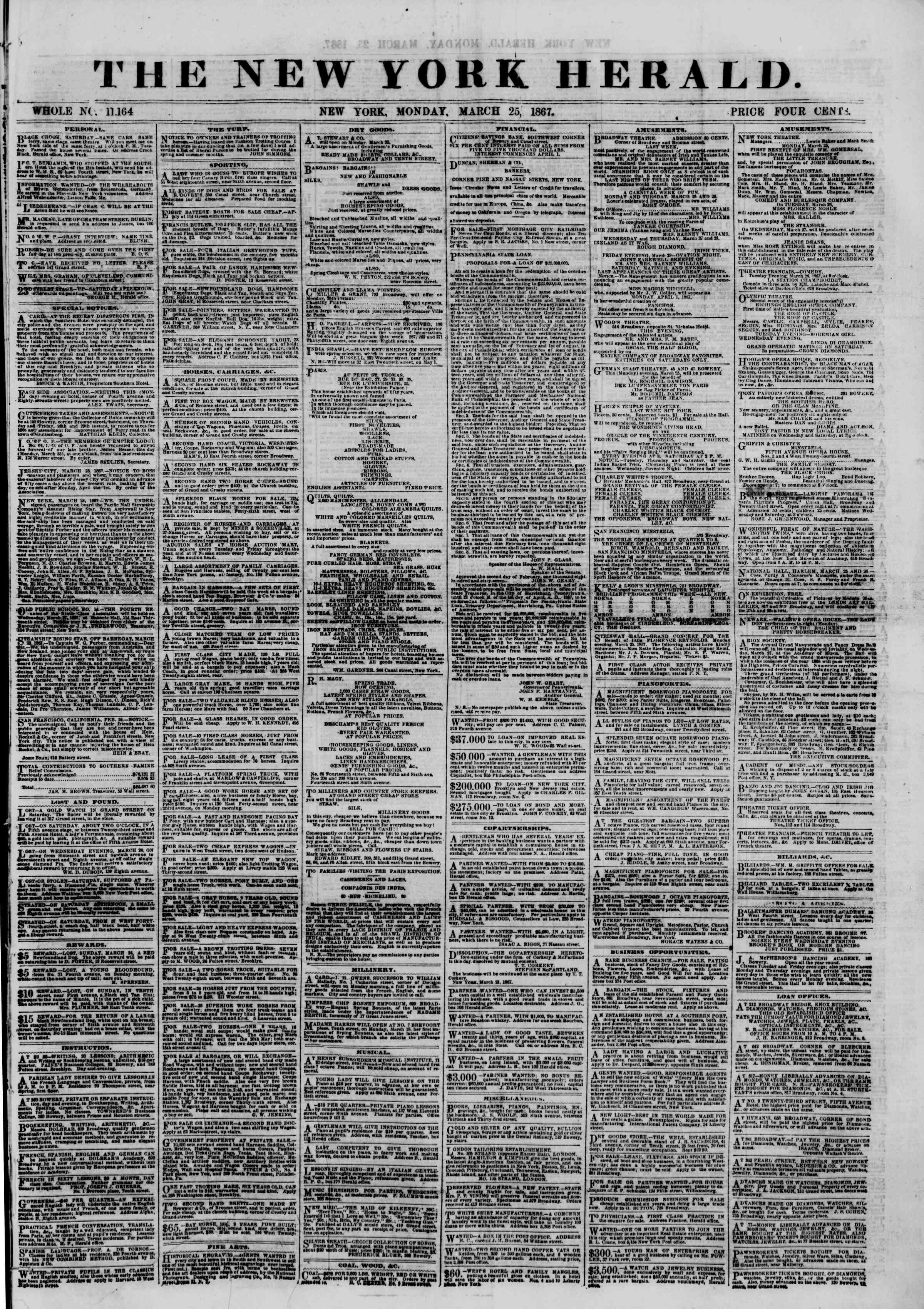 Newspaper of The New York Herald dated March 25, 1867 Page 1