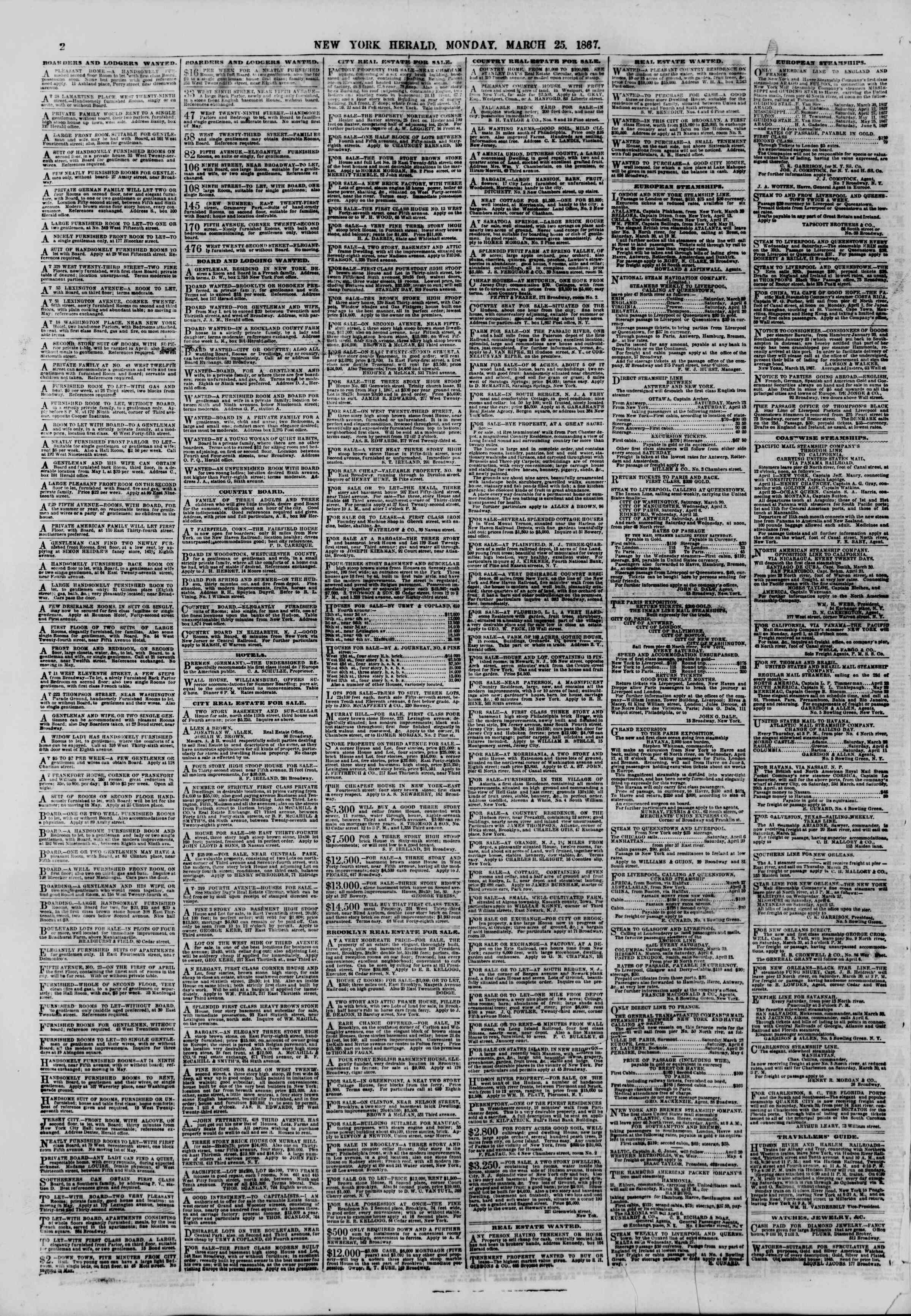 Newspaper of The New York Herald dated March 25, 1867 Page 2