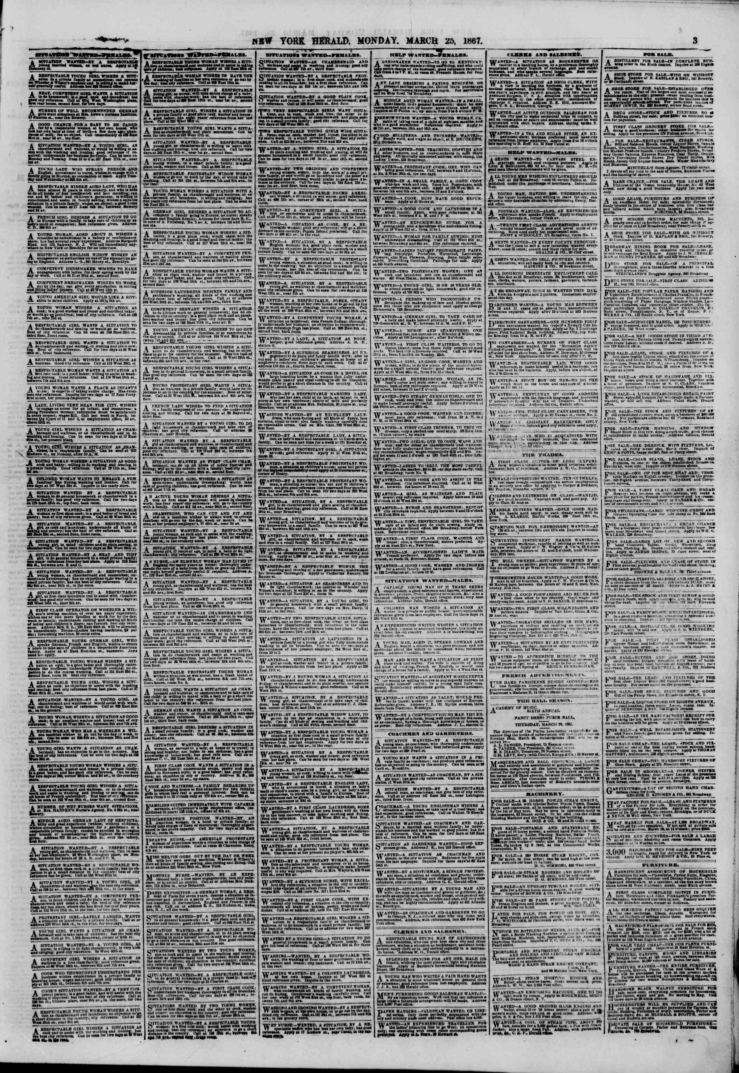 Newspaper of The New York Herald dated 25 Mart 1867 Page 3