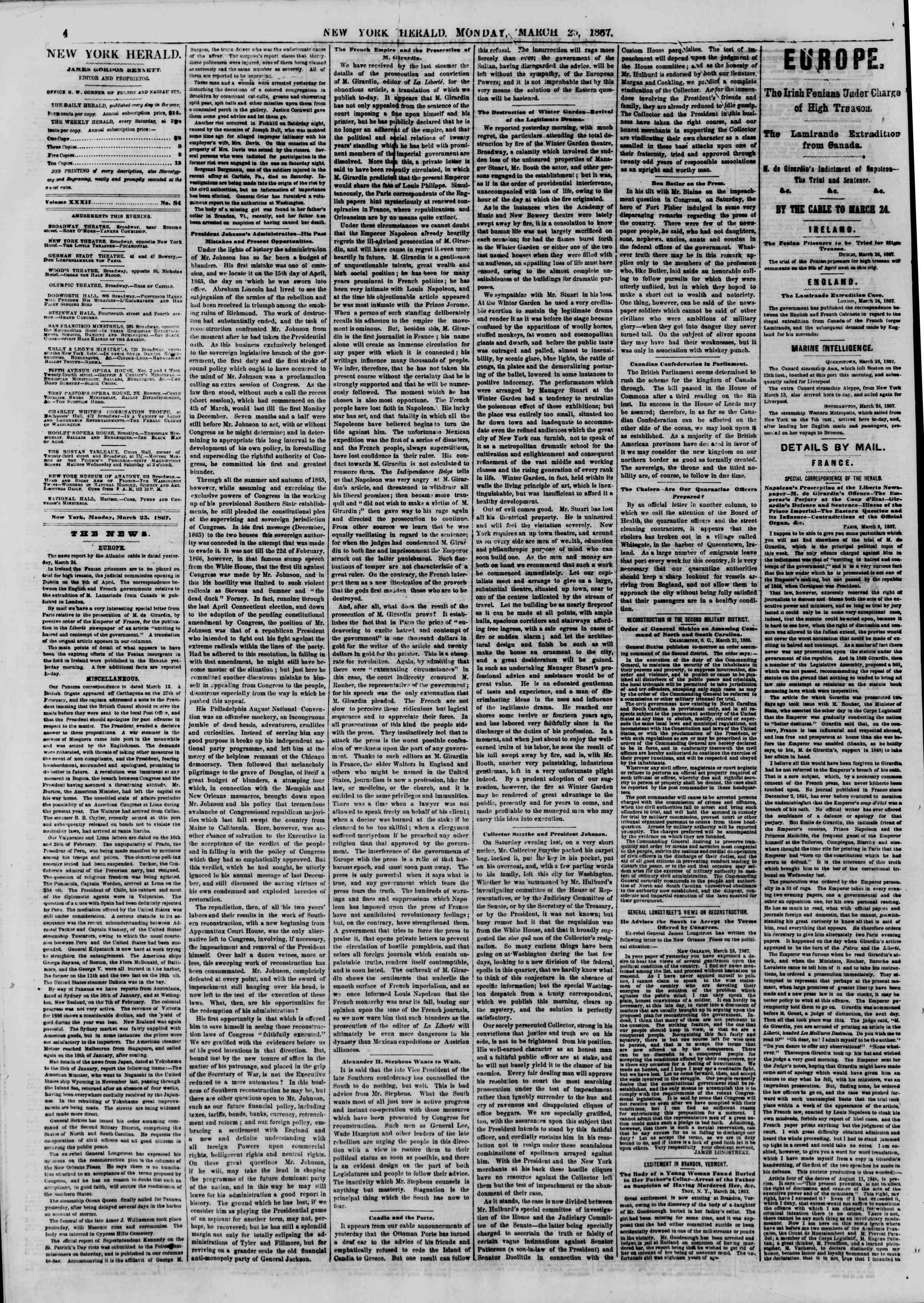 Newspaper of The New York Herald dated March 25, 1867 Page 4