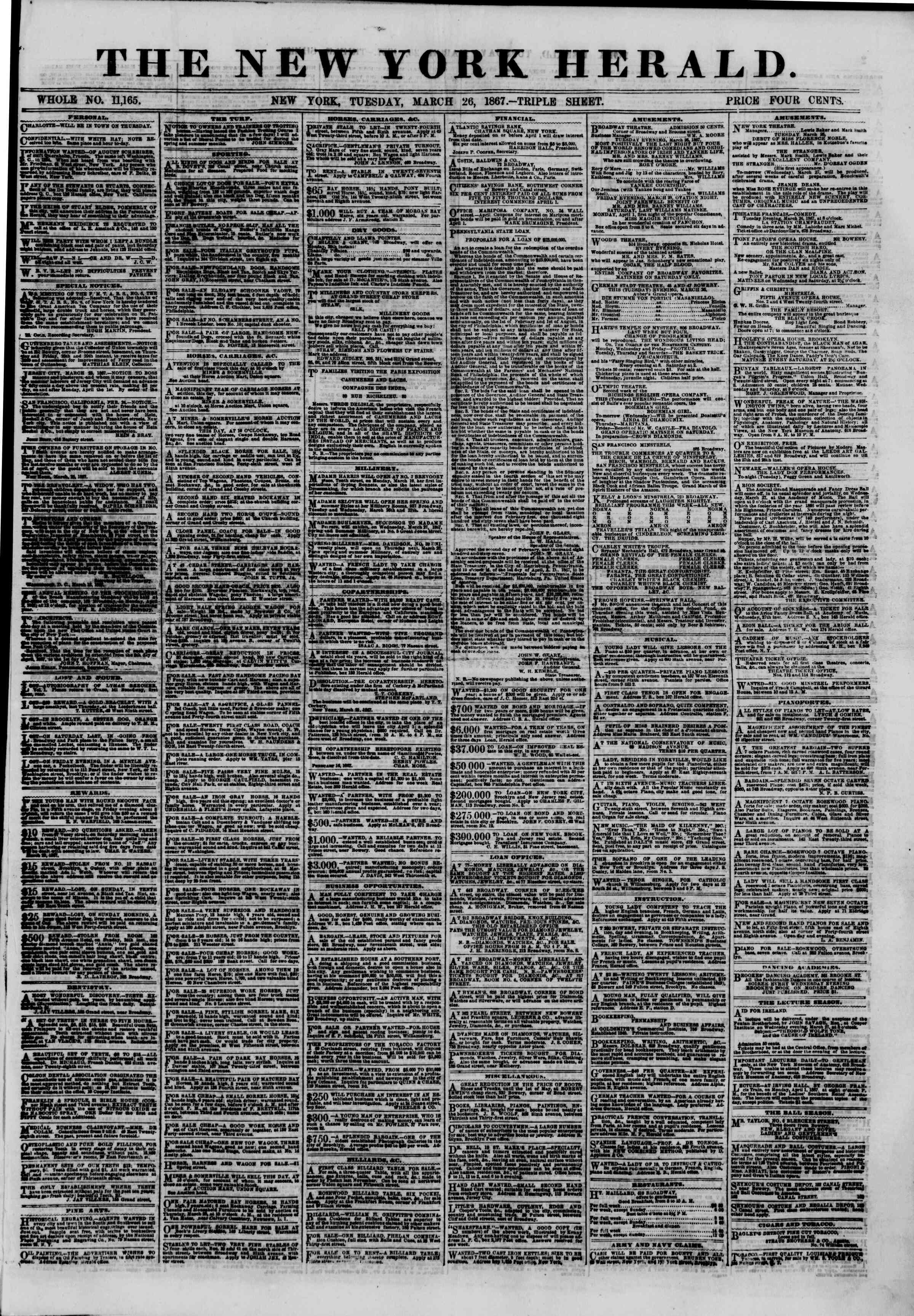 Newspaper of The New York Herald dated March 26, 1867 Page 1