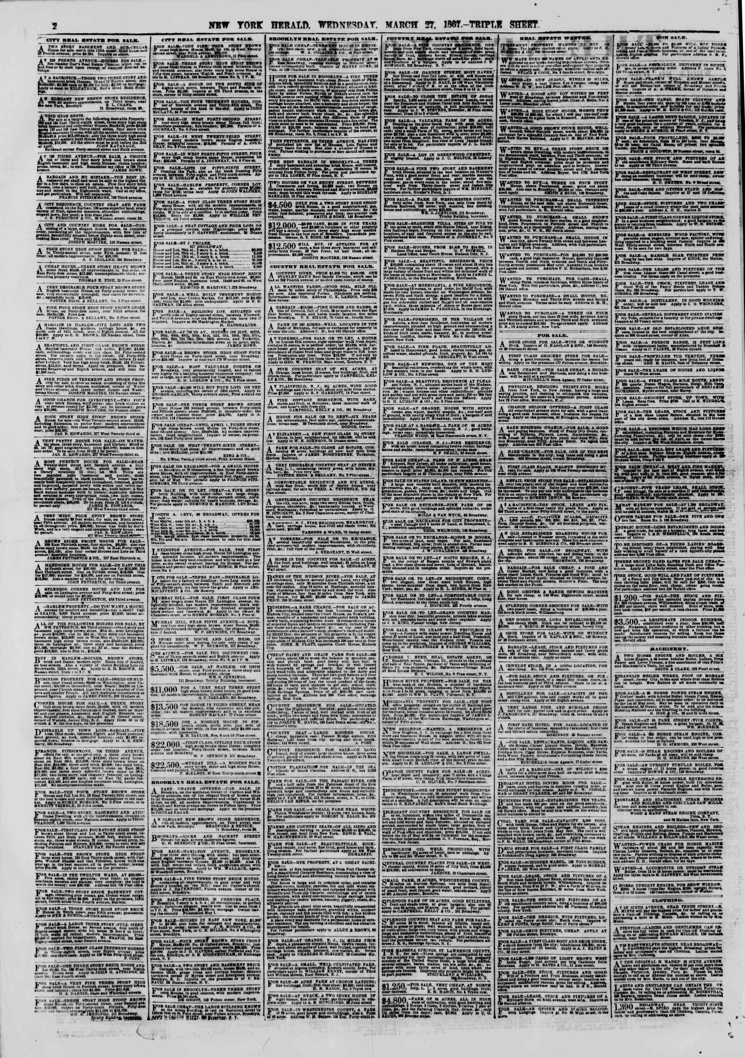 Newspaper of The New York Herald dated March 27, 1867 Page 2
